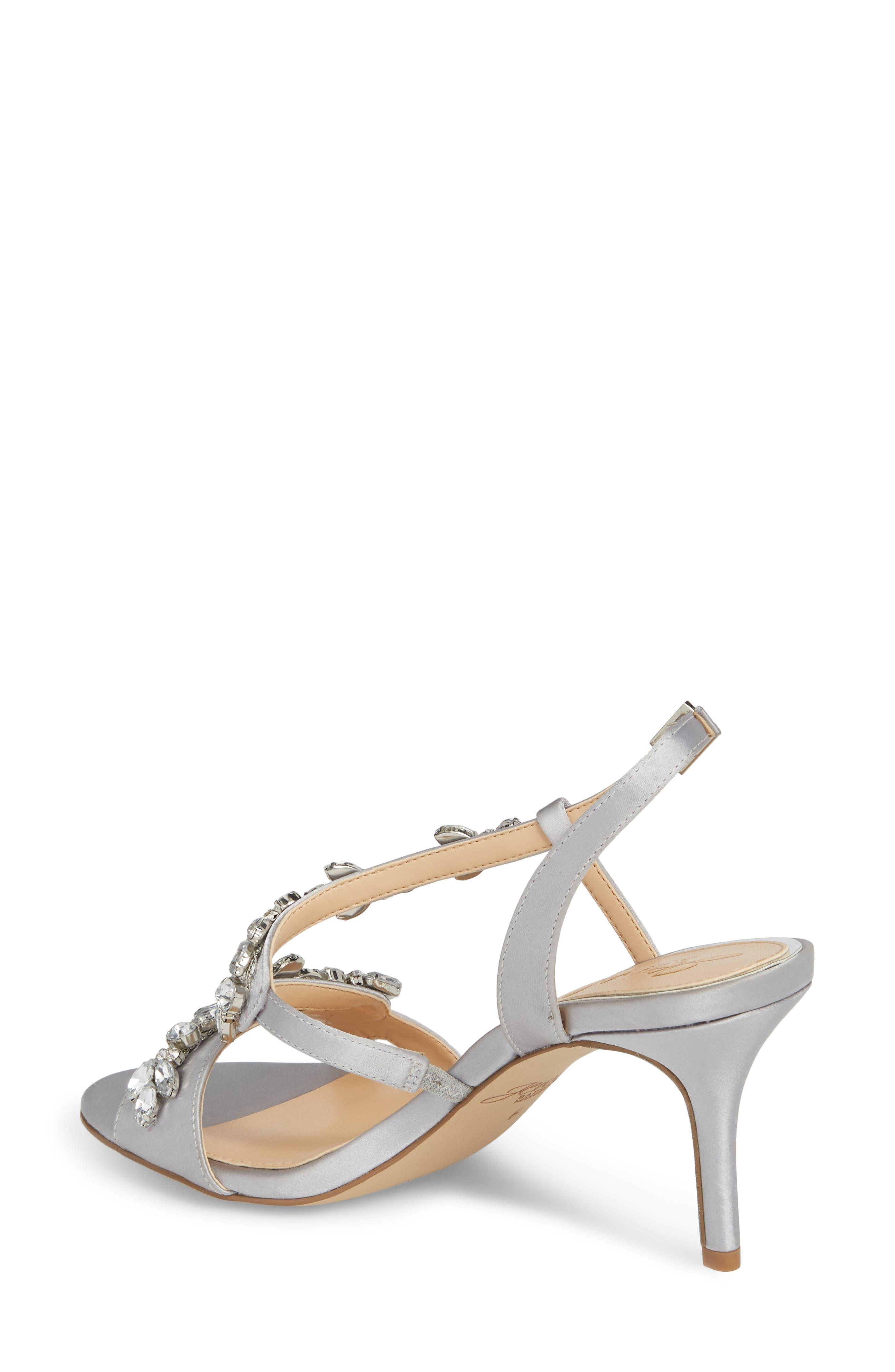 Badgley Mischka Ganet Embellished Sandal,                             Alternate thumbnail 2, color,                             Silver Satin