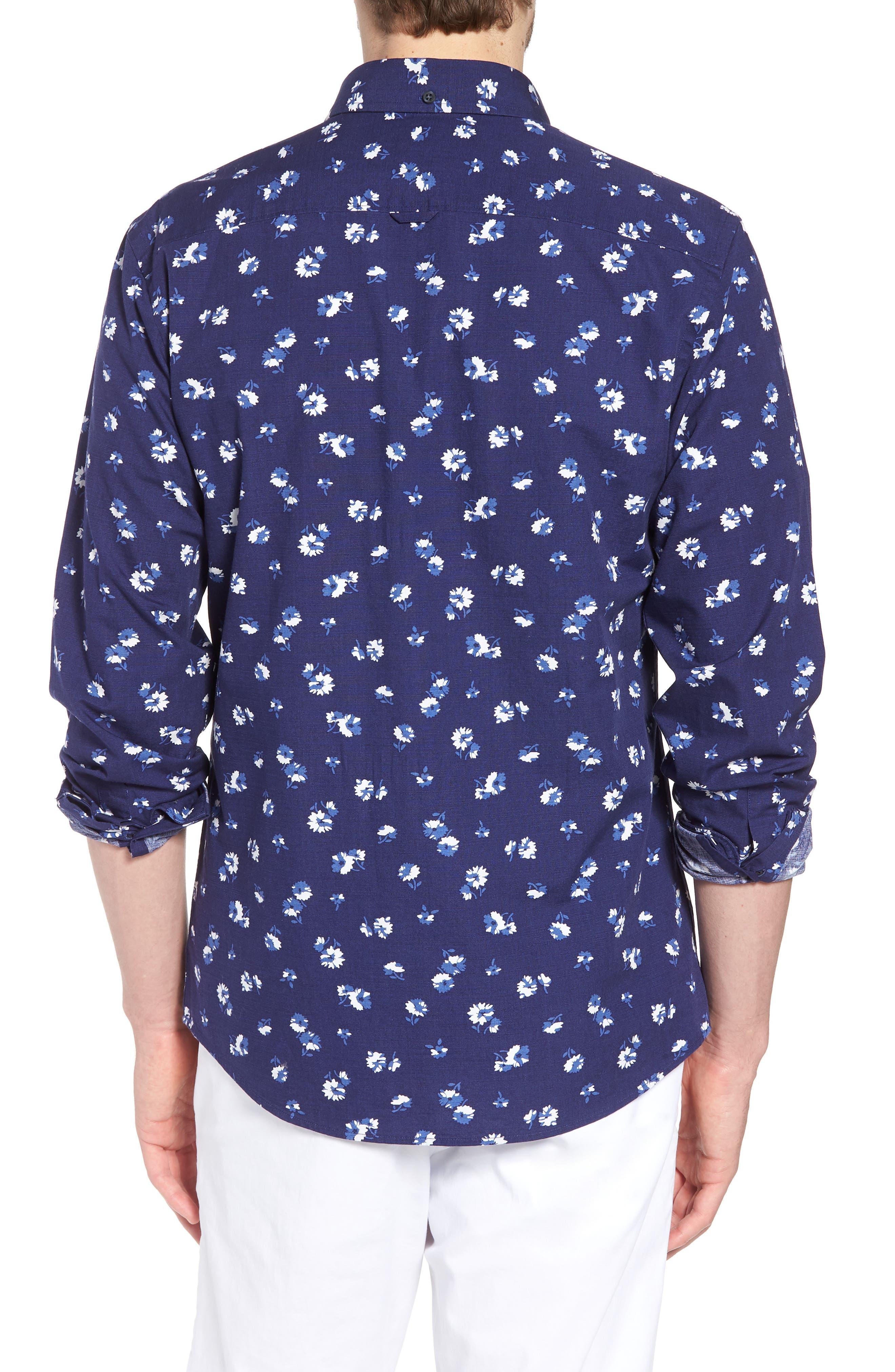Trim Fit Floral Sport Shirt,                             Alternate thumbnail 3, color,                             Navy Iris Aster Flowers