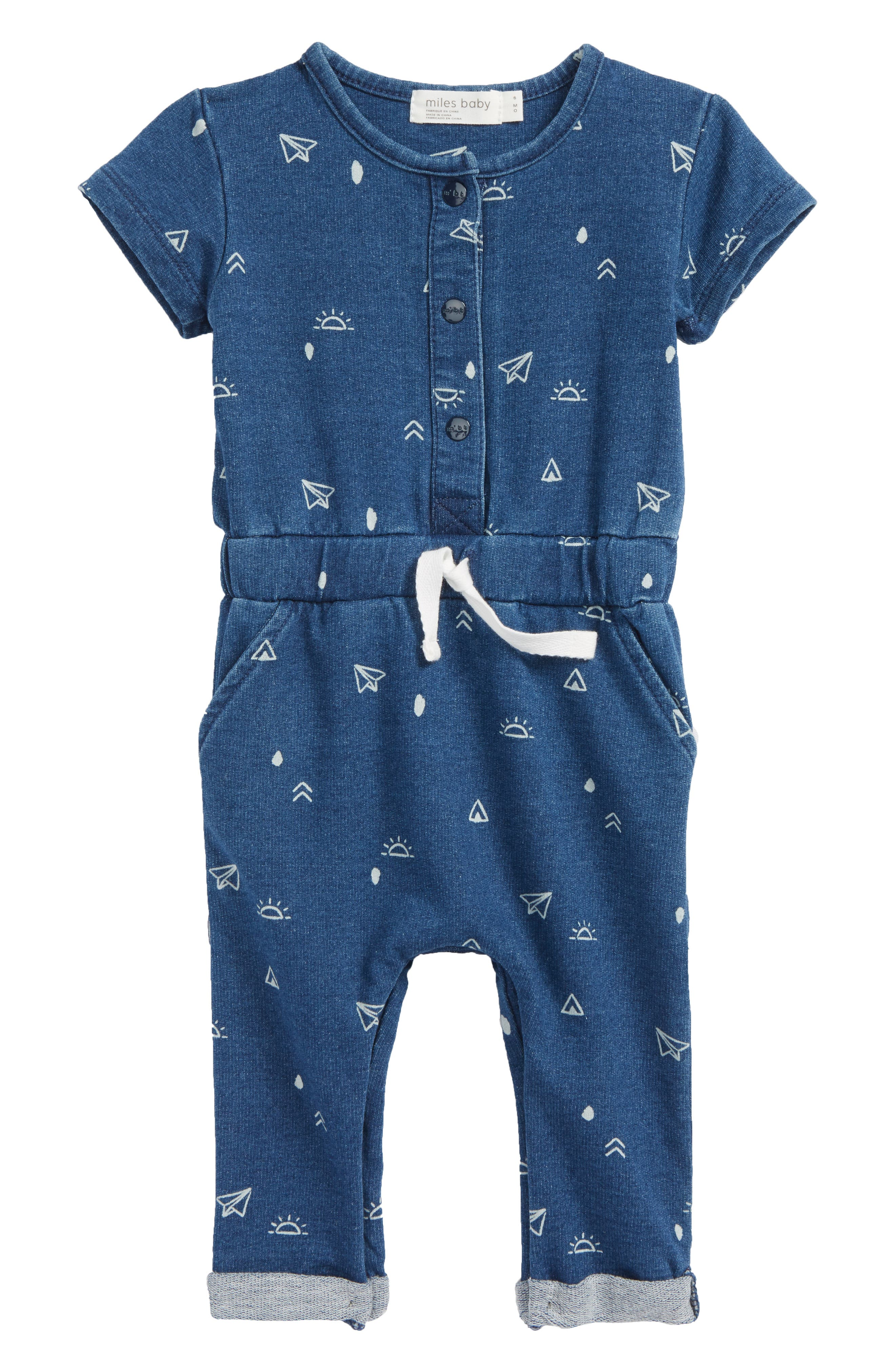 Print Romper,                         Main,                         color, Blue Denim