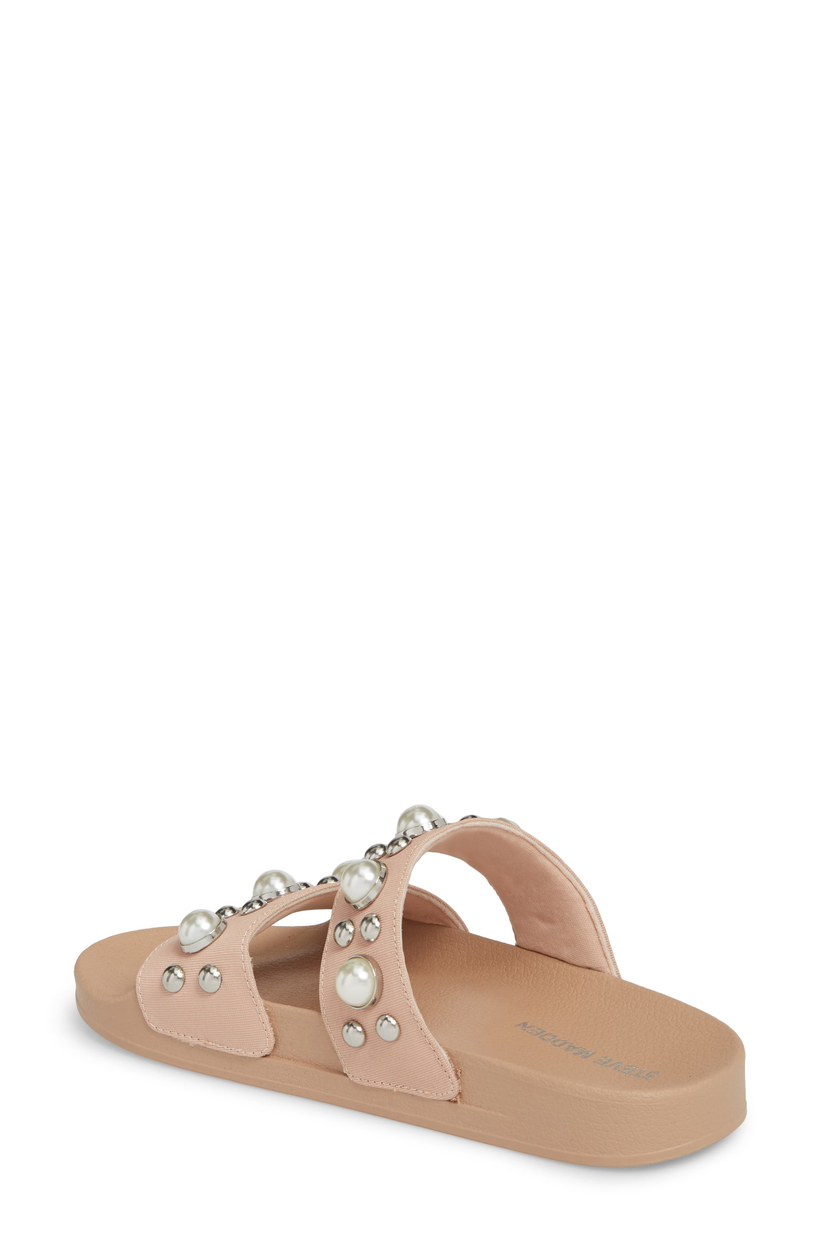 Polite Embellished Slide Sandal,                             Alternate thumbnail 2, color,                             Blush