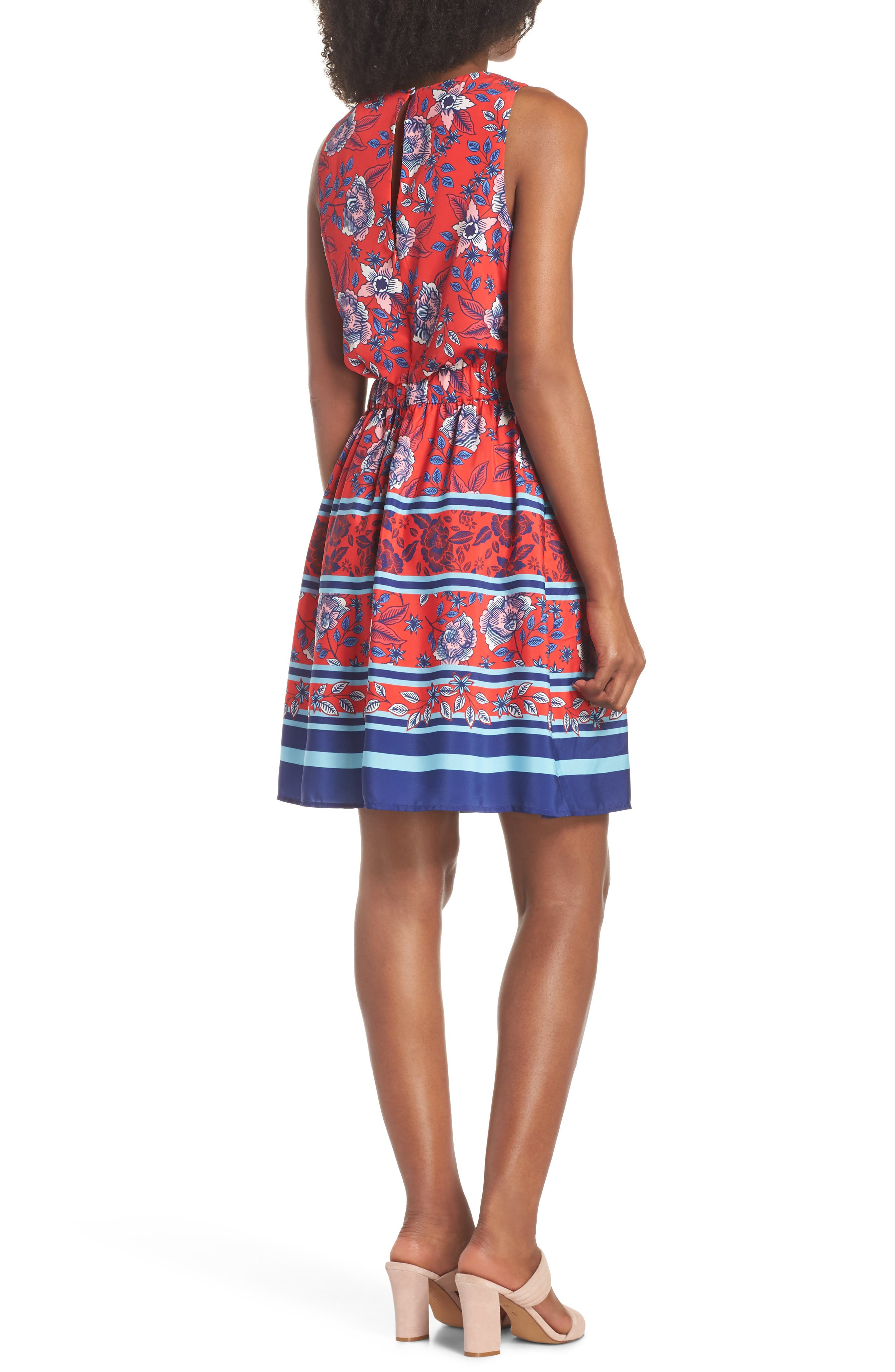 Built-In Tie Fit & Flare Dress,                             Alternate thumbnail 2, color,                             Red