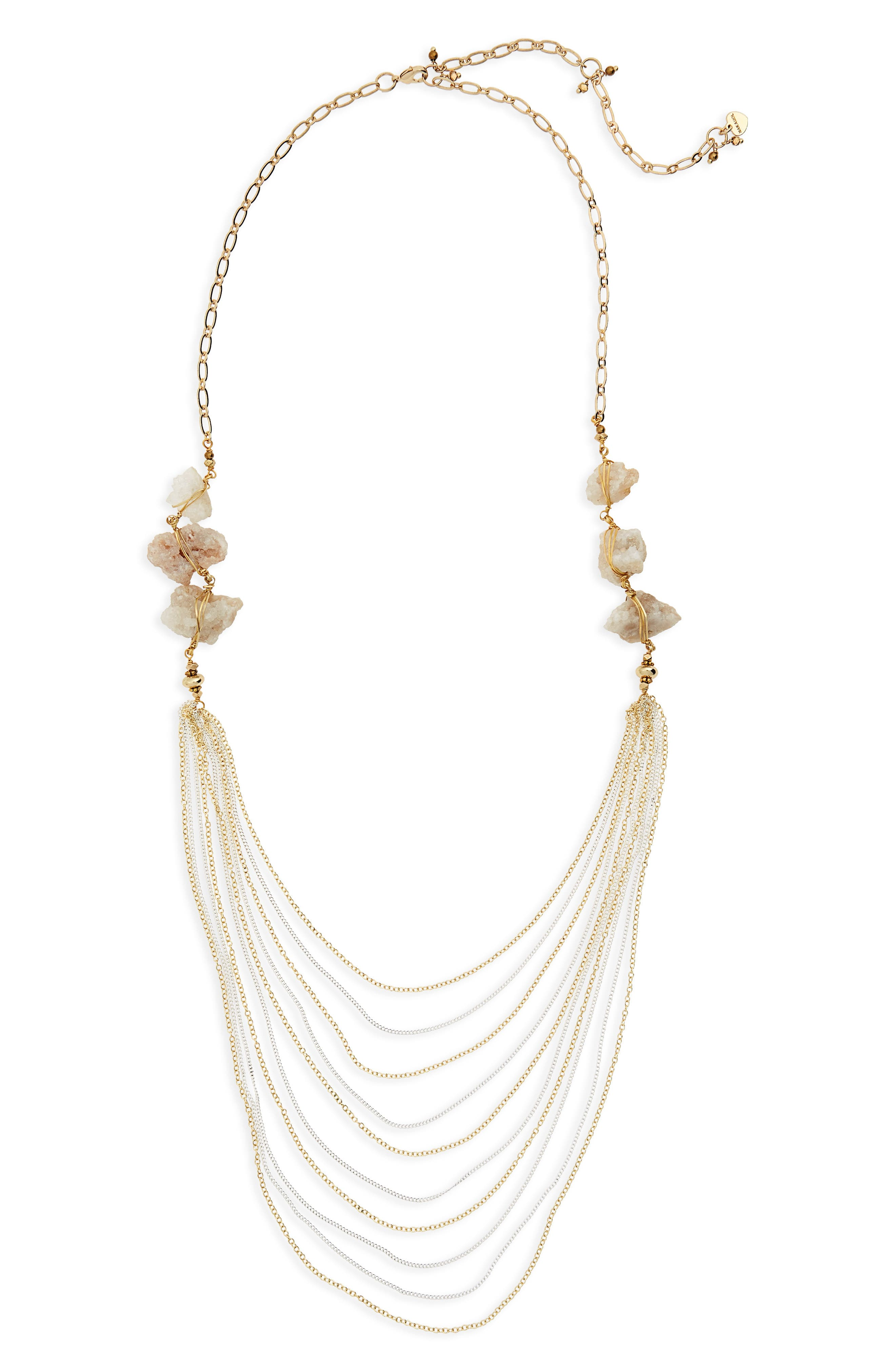 Agate Layered Chain Necklace,                             Main thumbnail 1, color,                             Light Grey