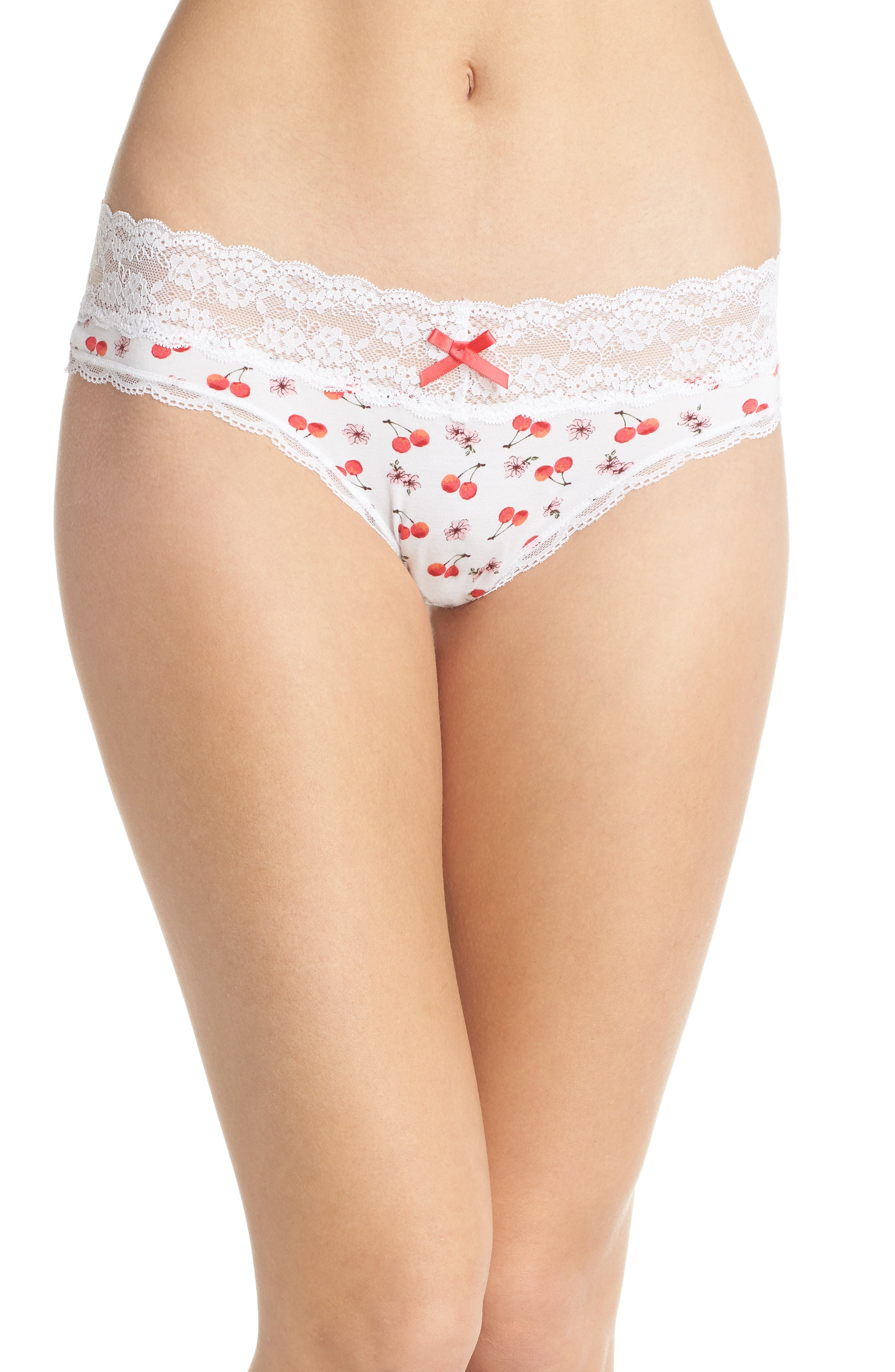 Lace Trim Low Rise Thong,                         Main,                         color, White Cherry Blossom