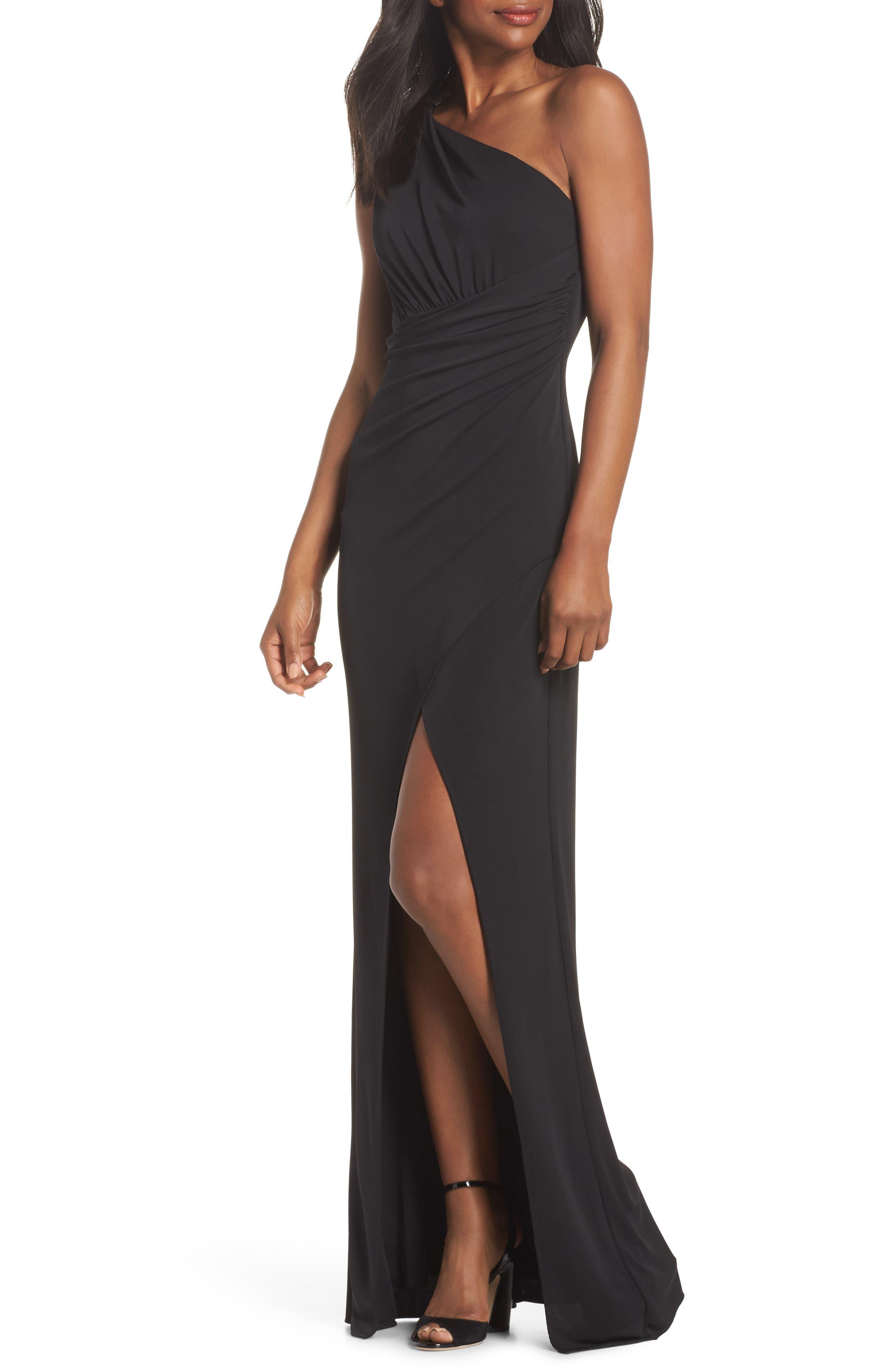 Kerri One-Shoulder Gown,                             Main thumbnail 1, color,                             Black
