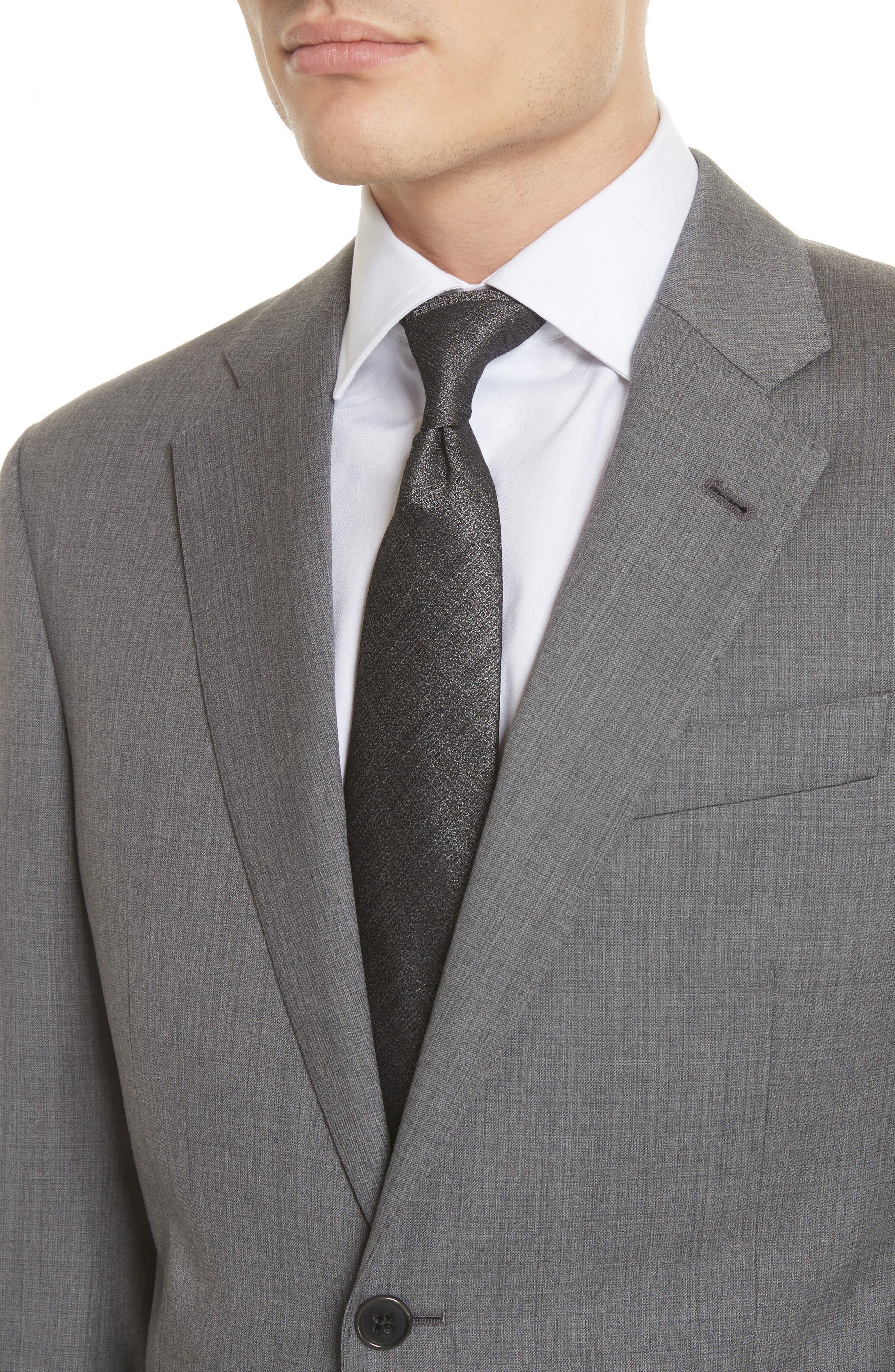 Trim Fit Sharkskin Wool Suit,                             Alternate thumbnail 4, color,                             Grey