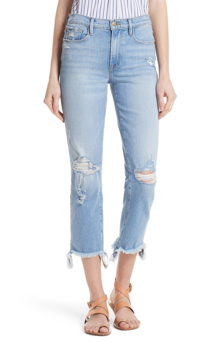 Le Nouveau Distressed Ankle Straight Leg Jeans