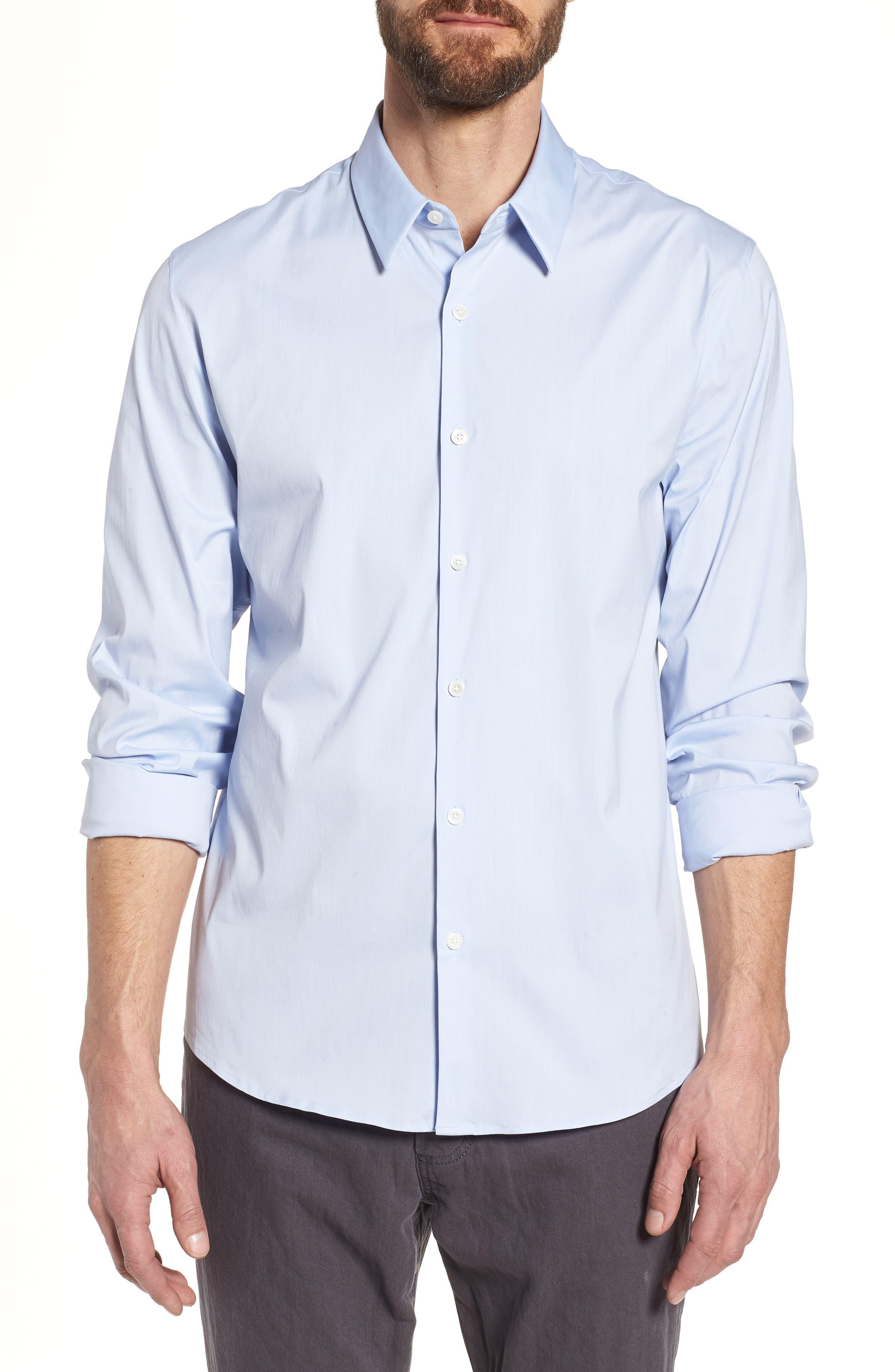 Matte Stretch Poplin Sport Shirt,                             Main thumbnail 1, color,                             Blue