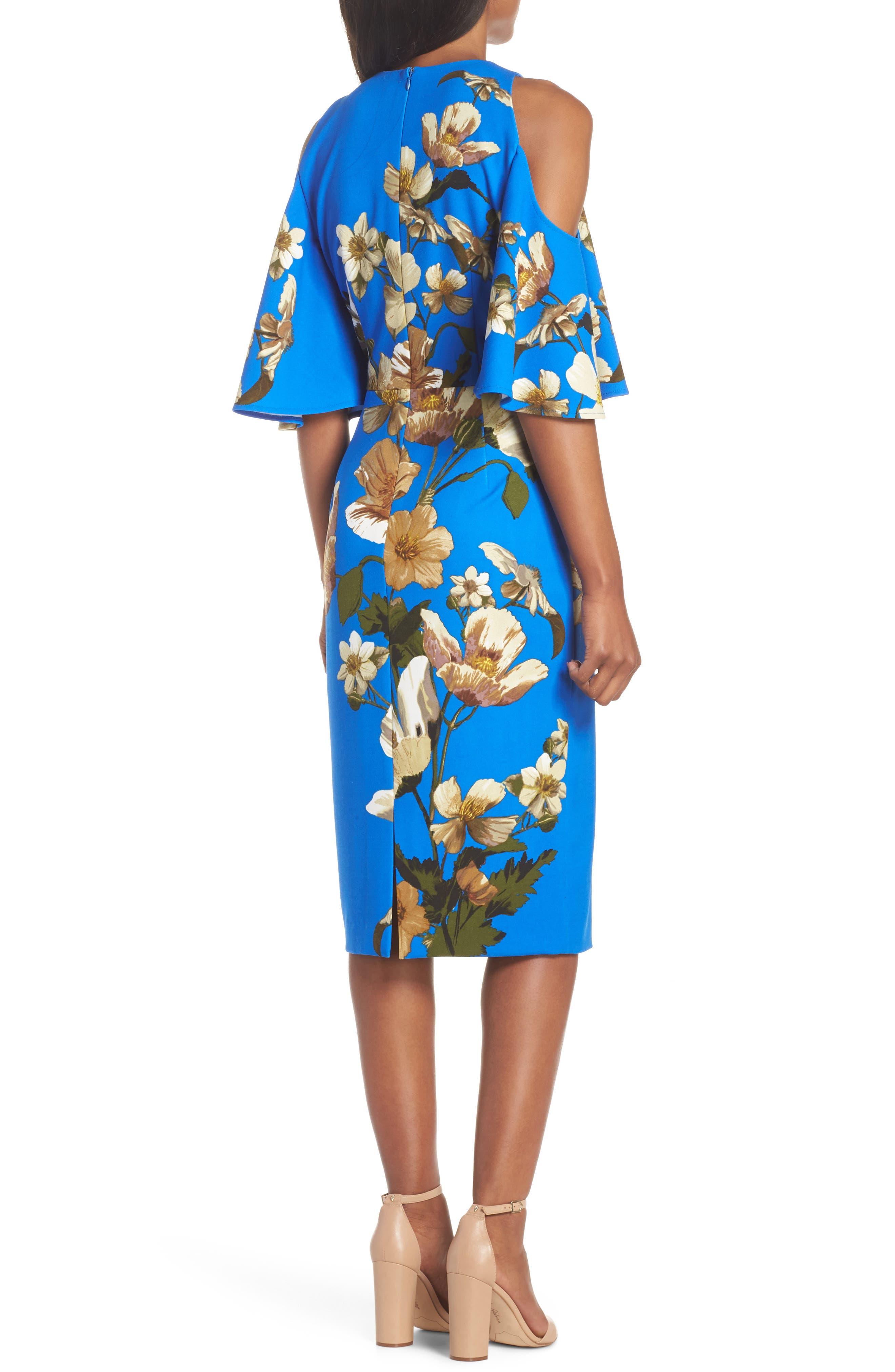 Floral Cold Shoulder Sheath Dress,                             Alternate thumbnail 2, color,                             Blue/ Neutral
