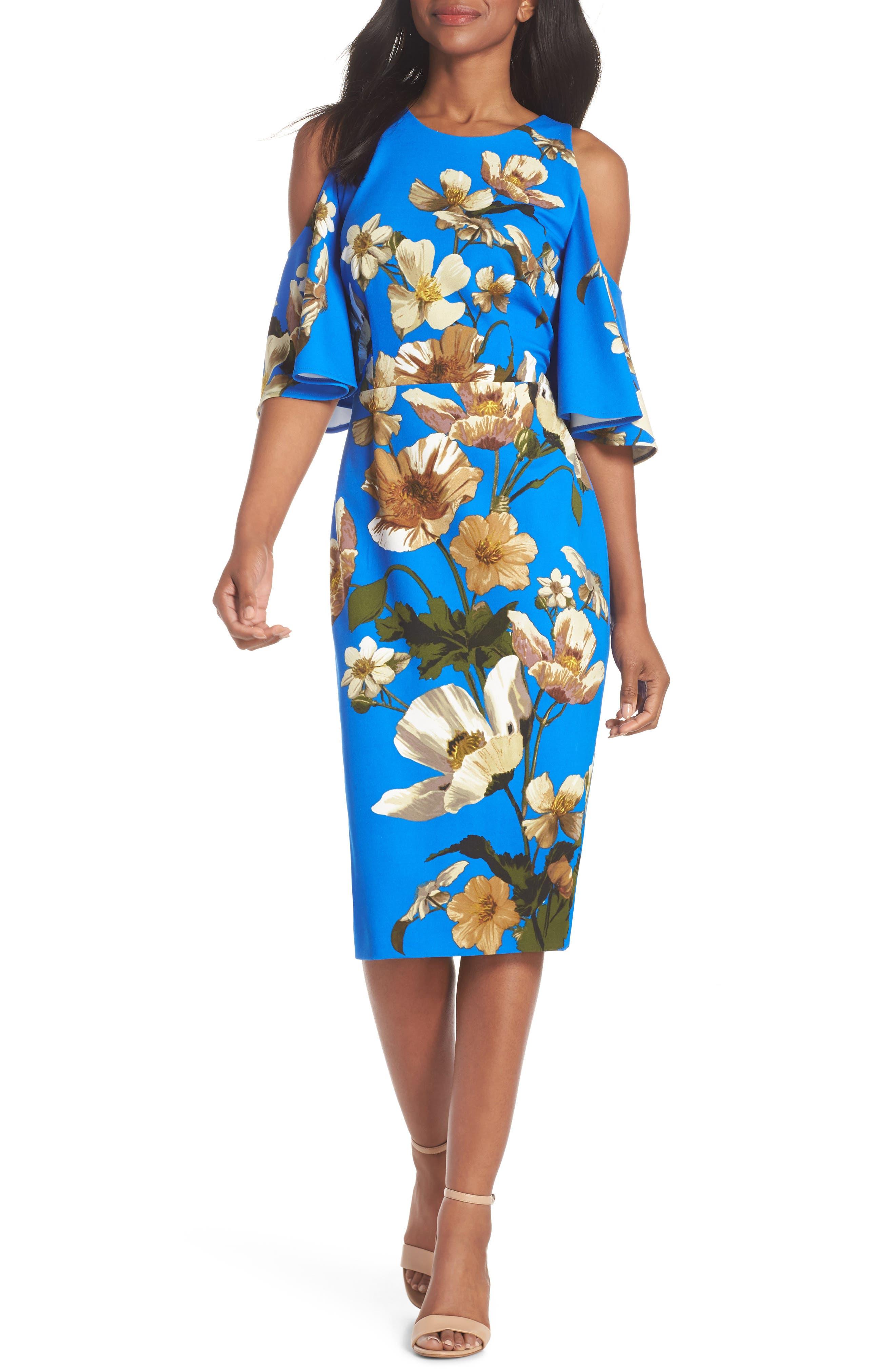 Floral Cold Shoulder Sheath Dress,                             Main thumbnail 1, color,                             Blue/ Neutral