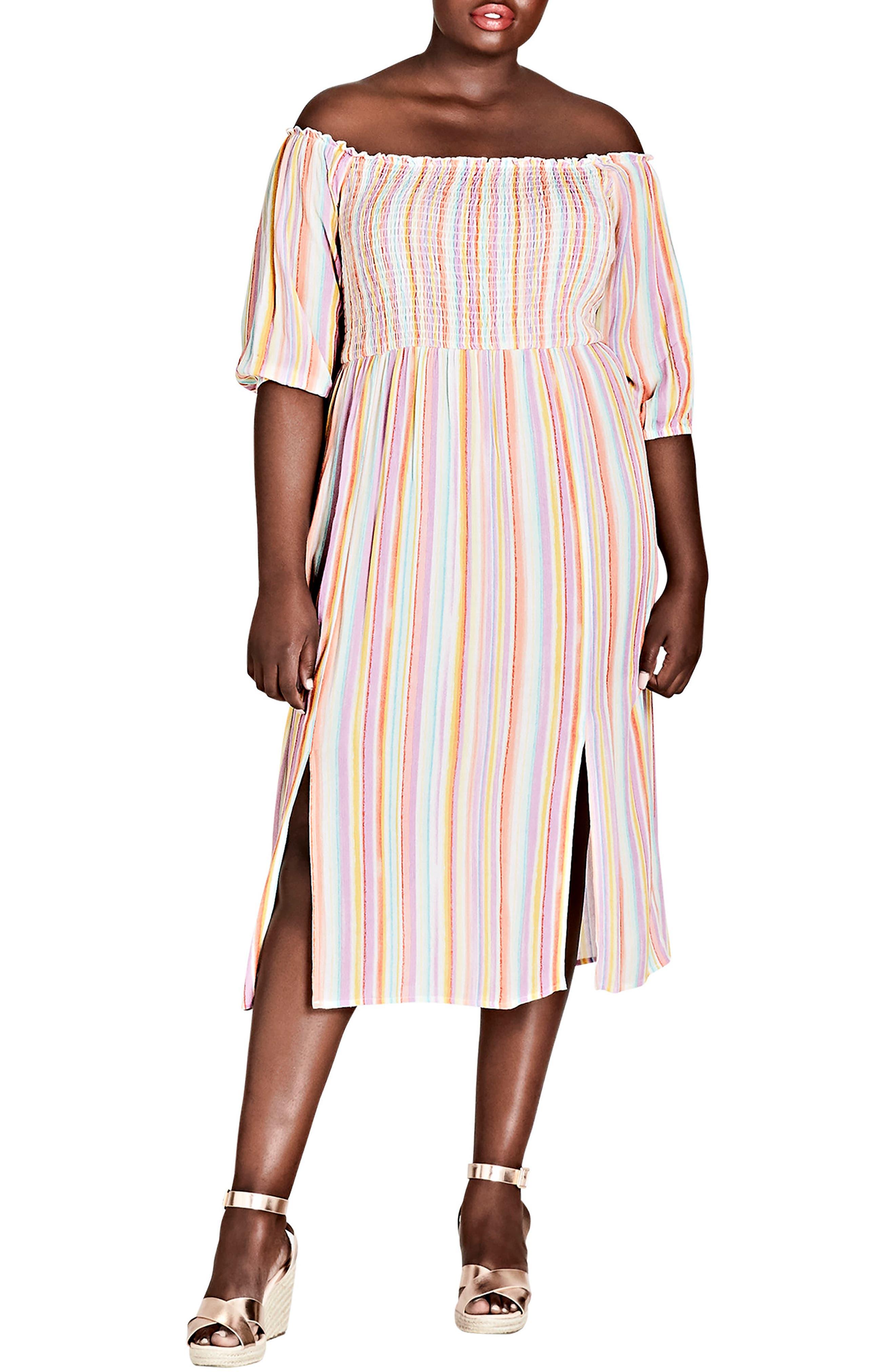 City Chic Island Stripe Midi Dress (Plus Size)