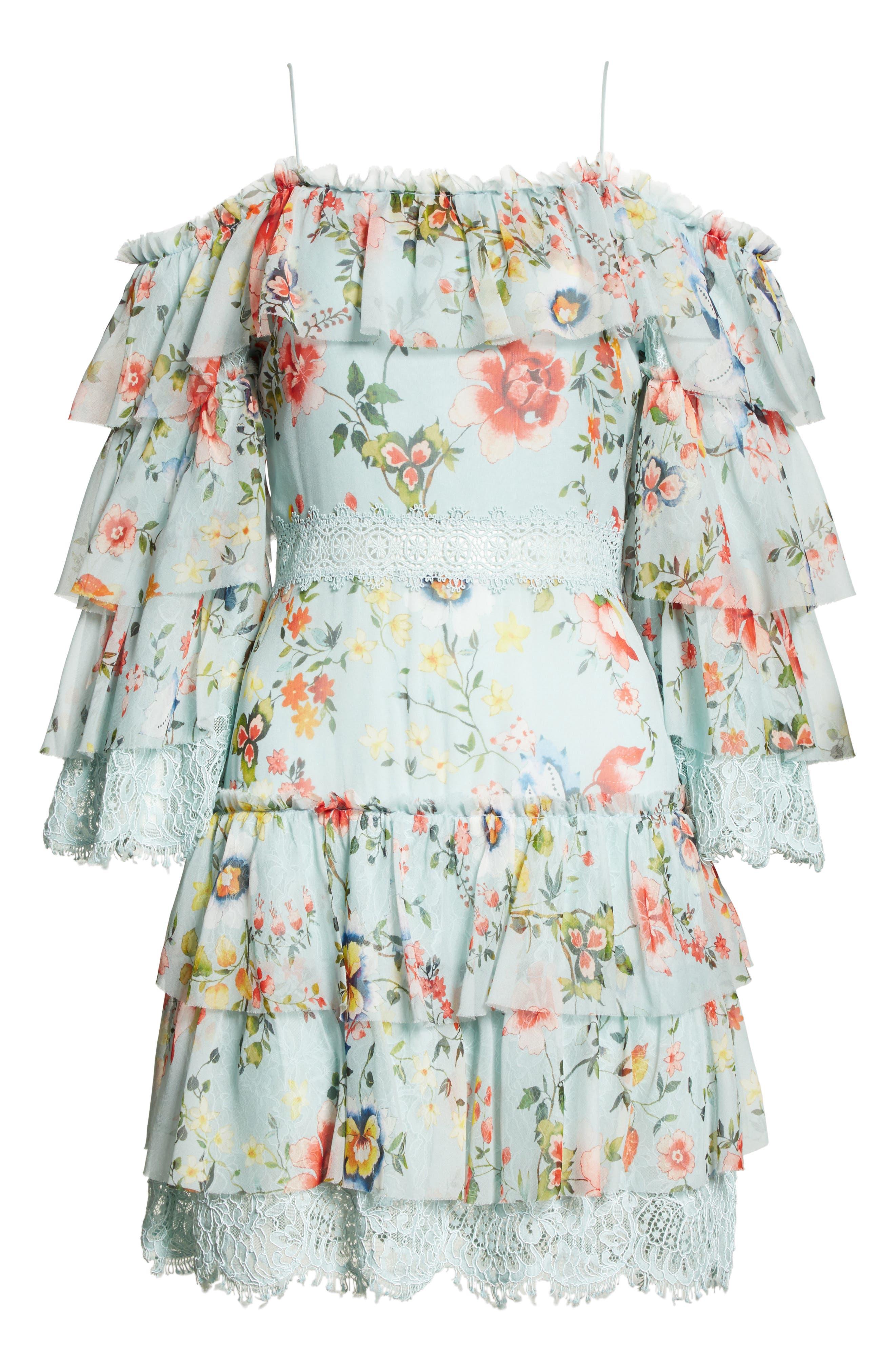 Santos Cold Shoulder Tiered Silk Dress,                             Alternate thumbnail 6, color,                             Floral Soiree-Dusty Aqua