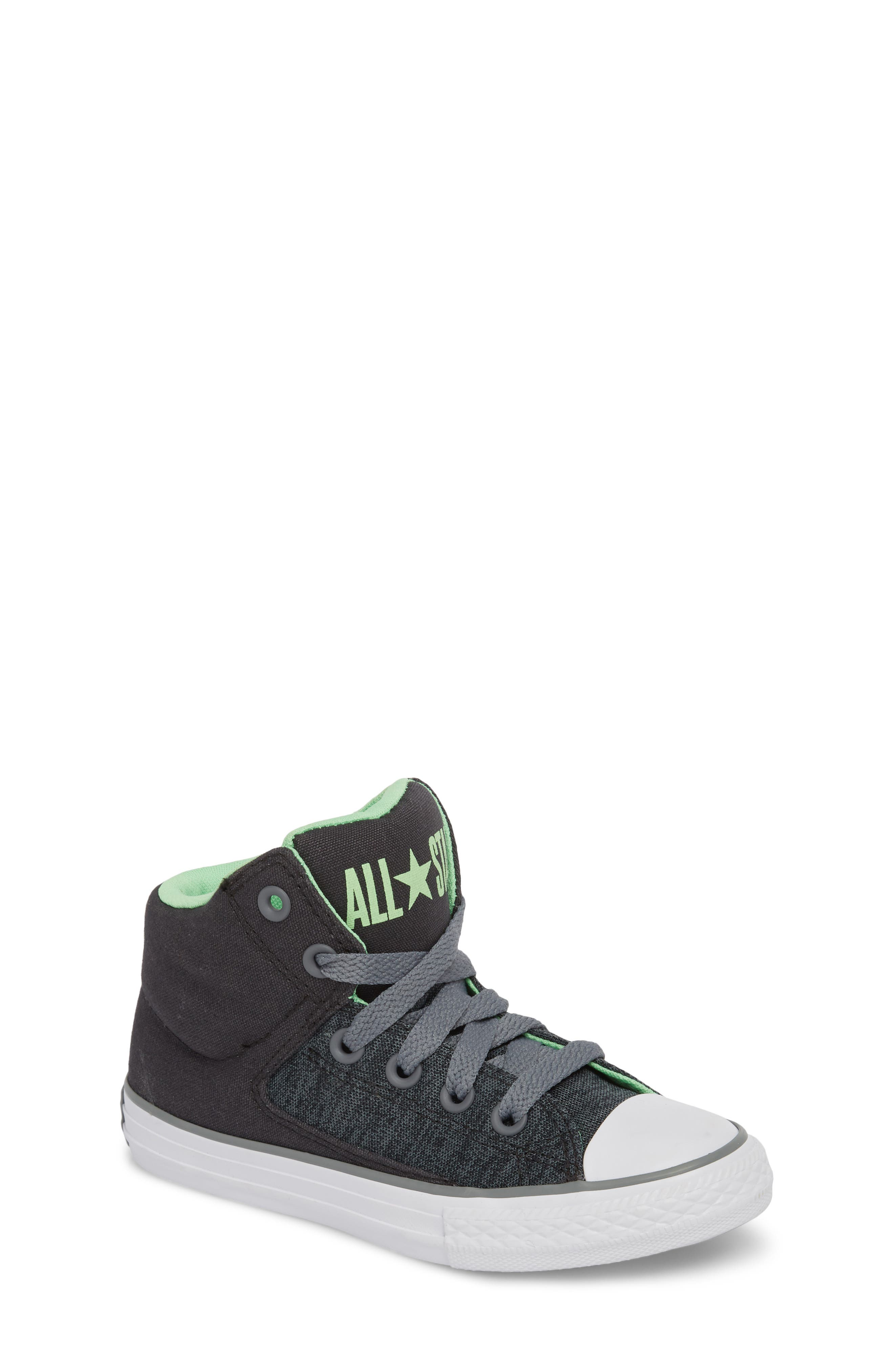 Chuck Taylor<sup>®</sup> All Star<sup>®</sup> High Street High Top Sneaker,                             Main thumbnail 1, color,                             Almost Black