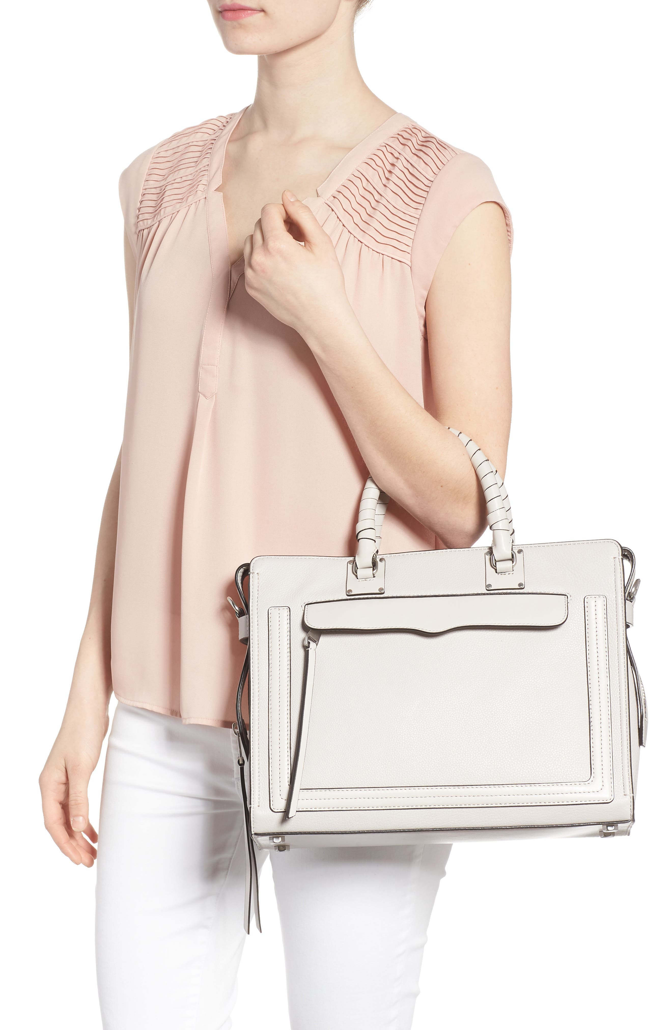 Large Bree Leather Satchel,                             Alternate thumbnail 2, color,                             Putty