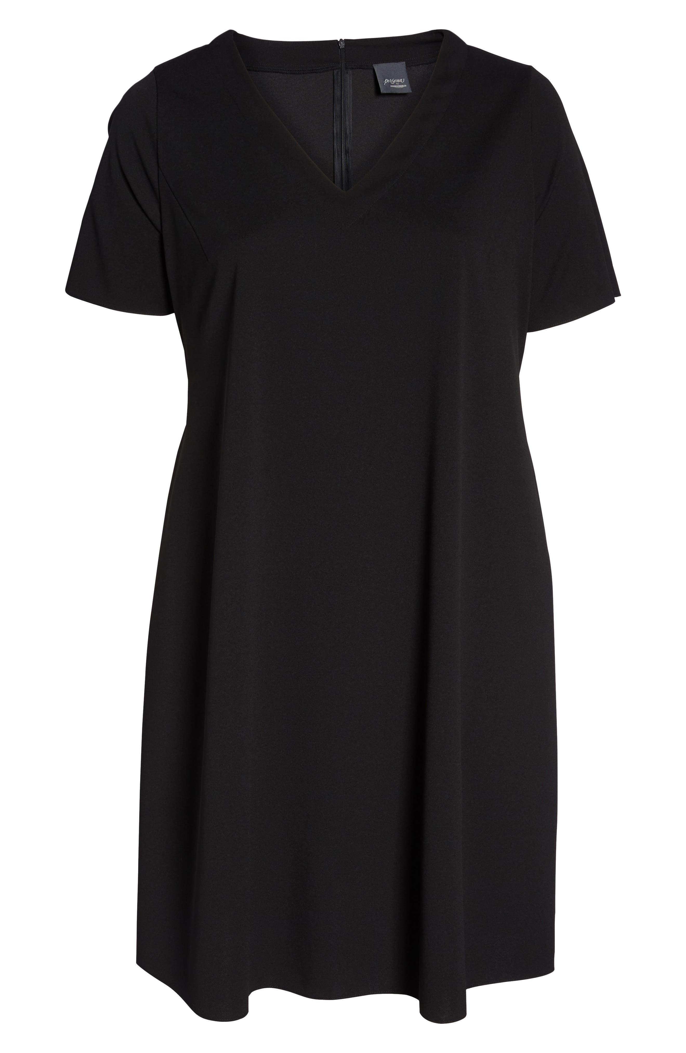 Short Sleeve Knit Dress,                             Alternate thumbnail 6, color,                             Black