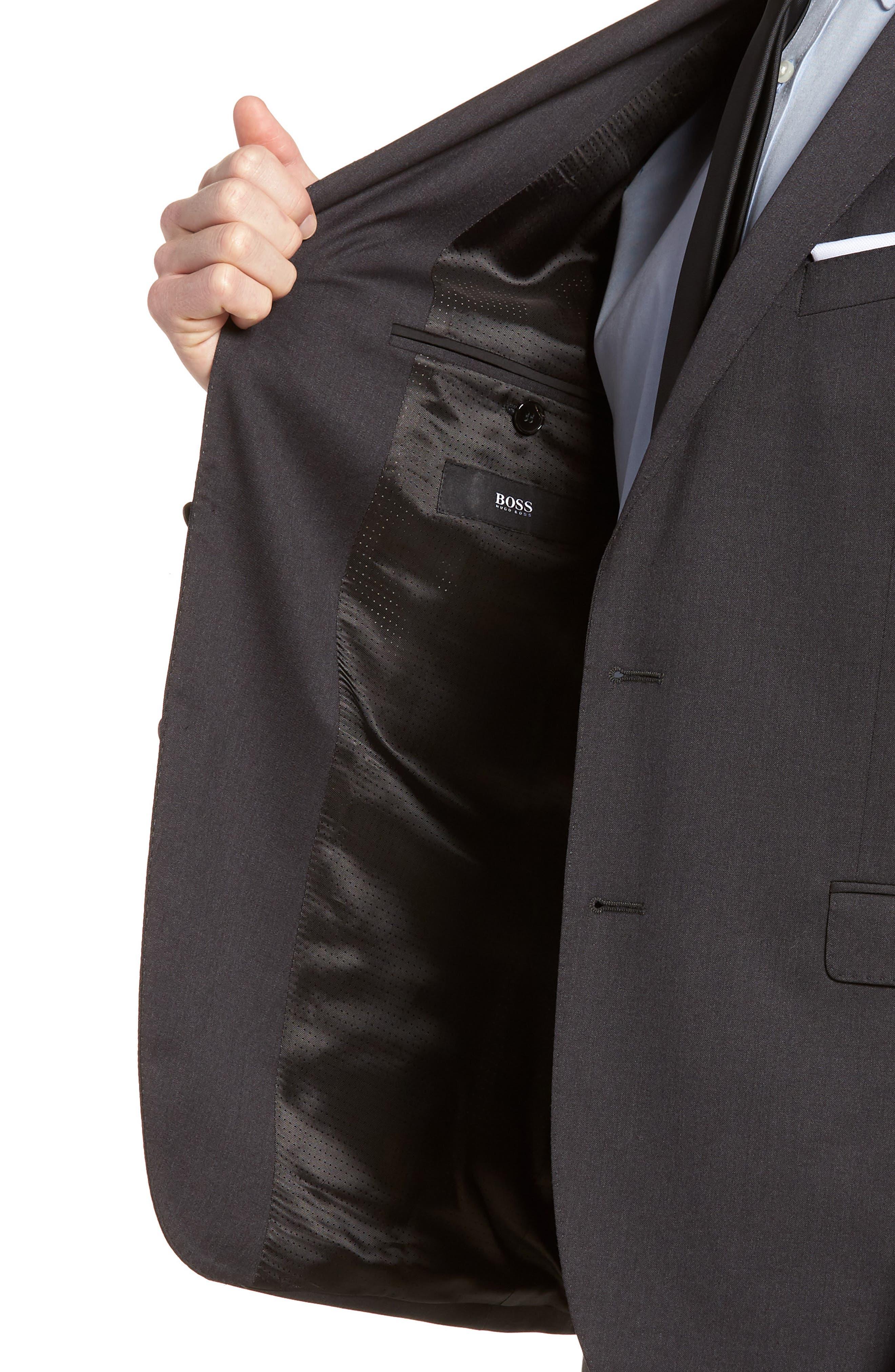 'Ryan/Win' Extra Trim Fit Solid Wool Suit,                             Alternate thumbnail 6, color,                             Dark Grey