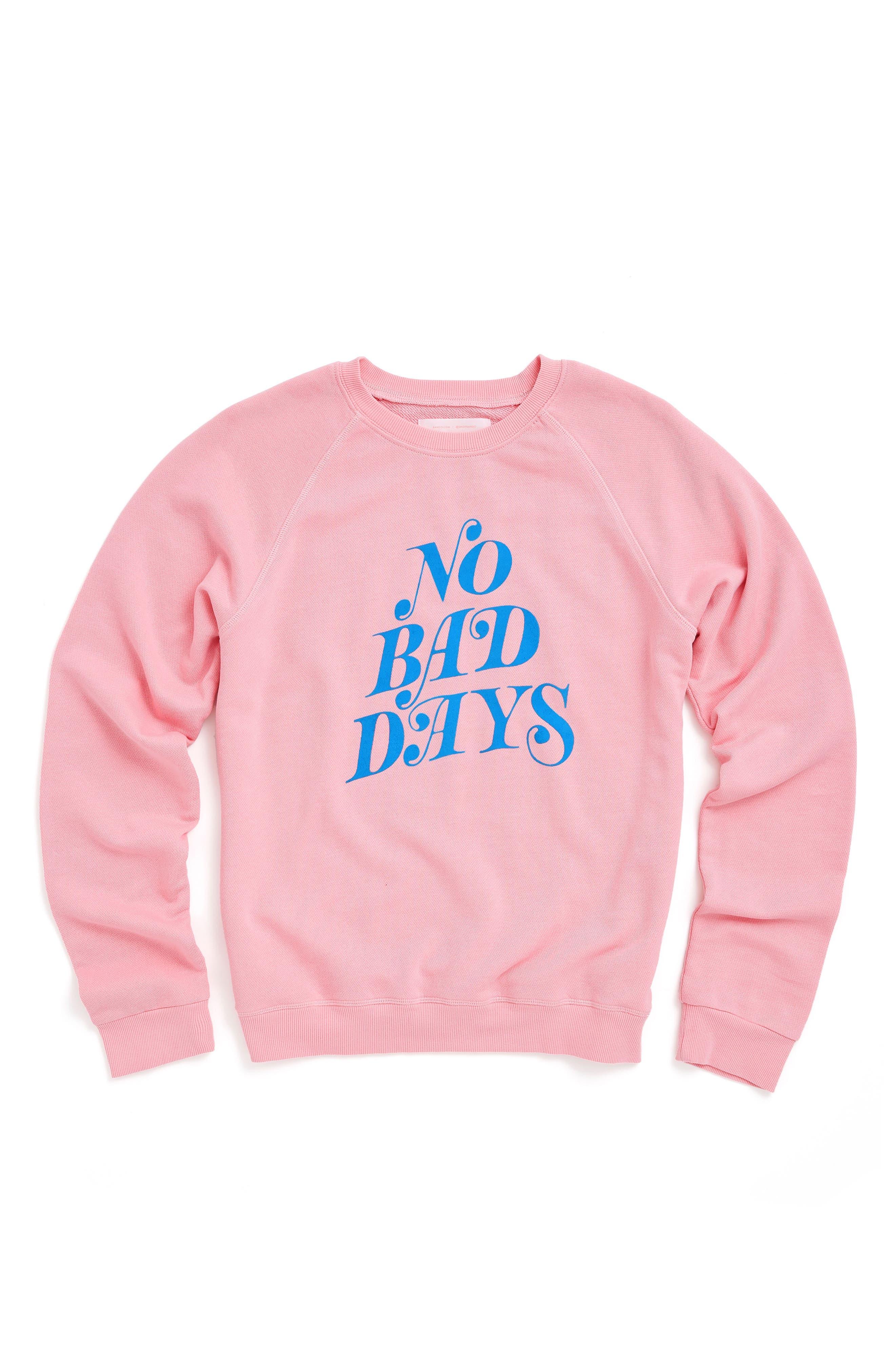 No Bad Days Raglan Sweatshirt,                             Alternate thumbnail 2, color,                             Pink