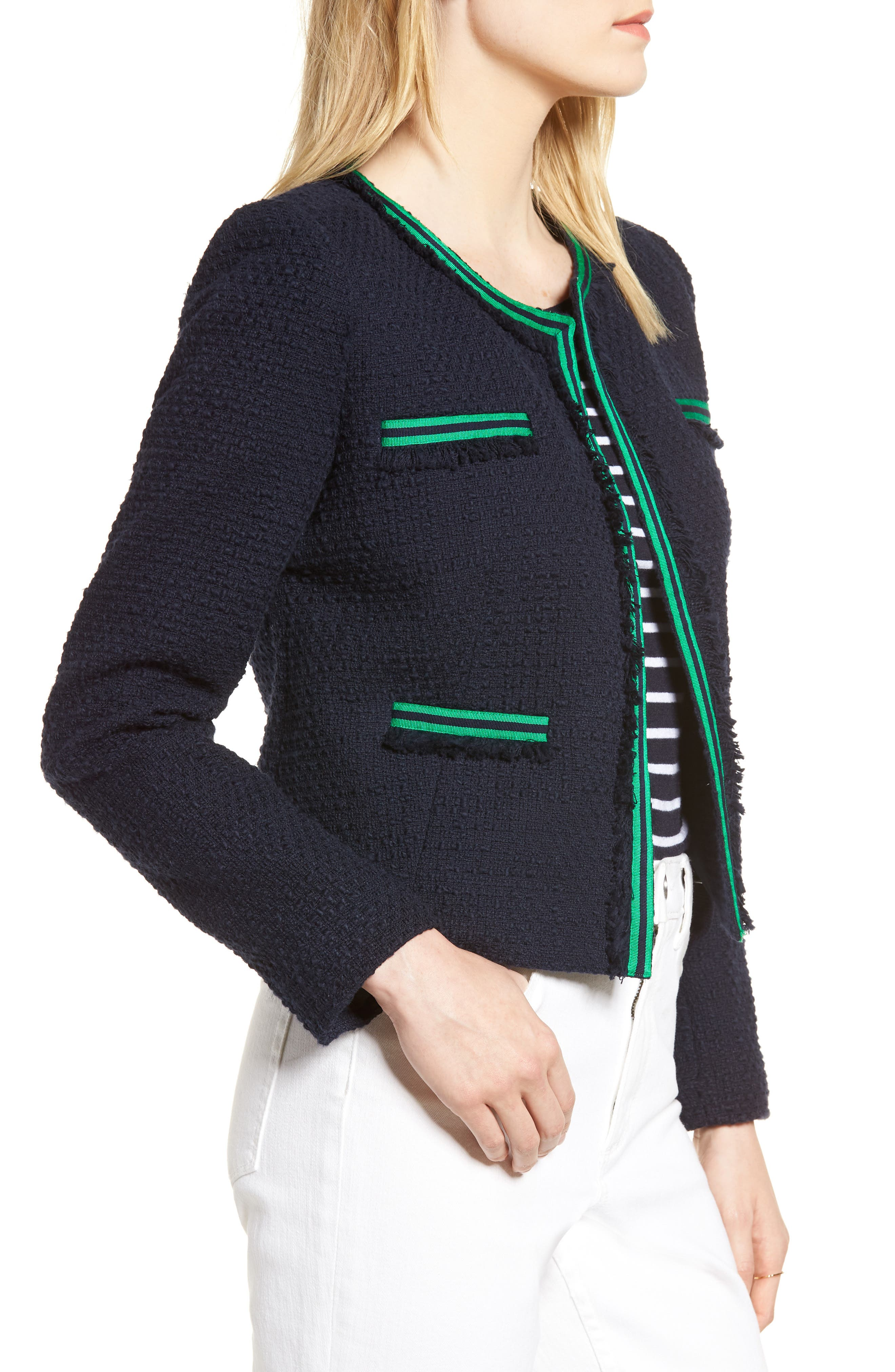 Ribbon Trim Textured Cotton Open Front Jacket,                             Alternate thumbnail 3, color,                             Navy Night