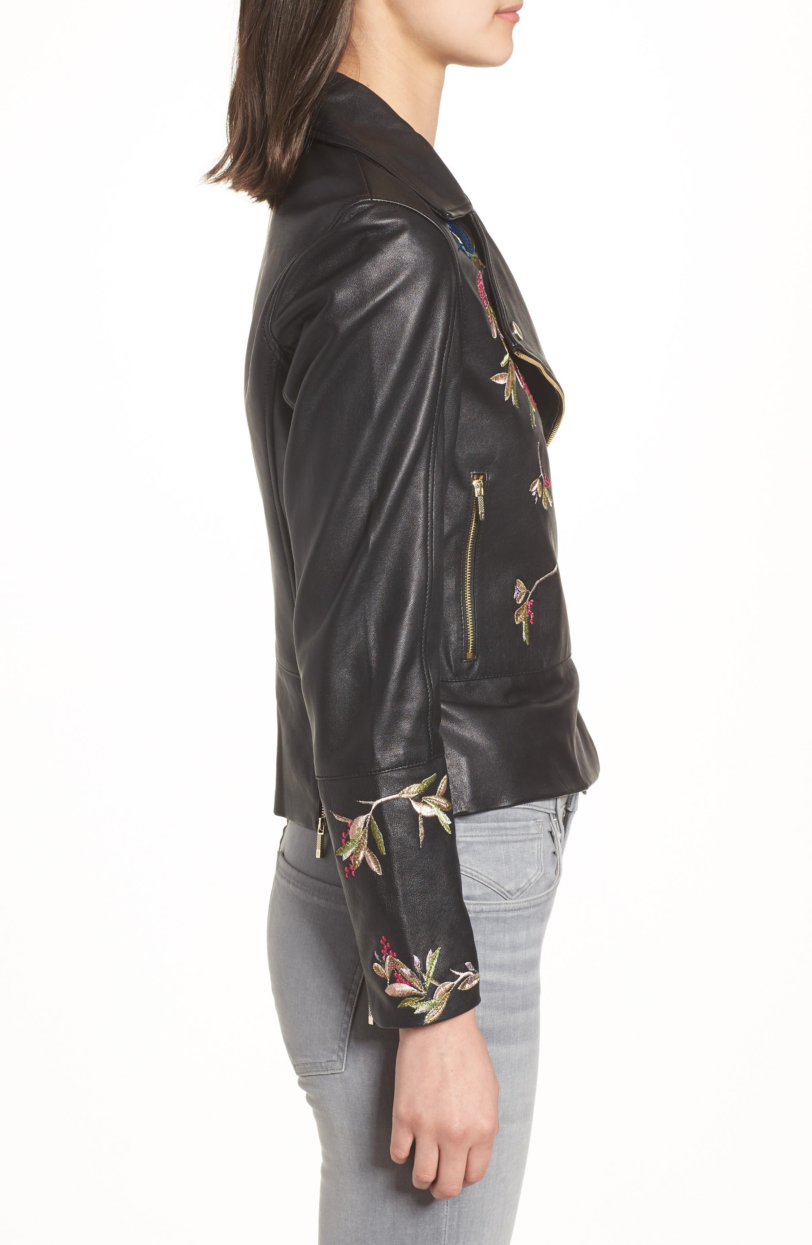 Highgrove Leather BIker Jacket,                             Alternate thumbnail 3, color,                             Black