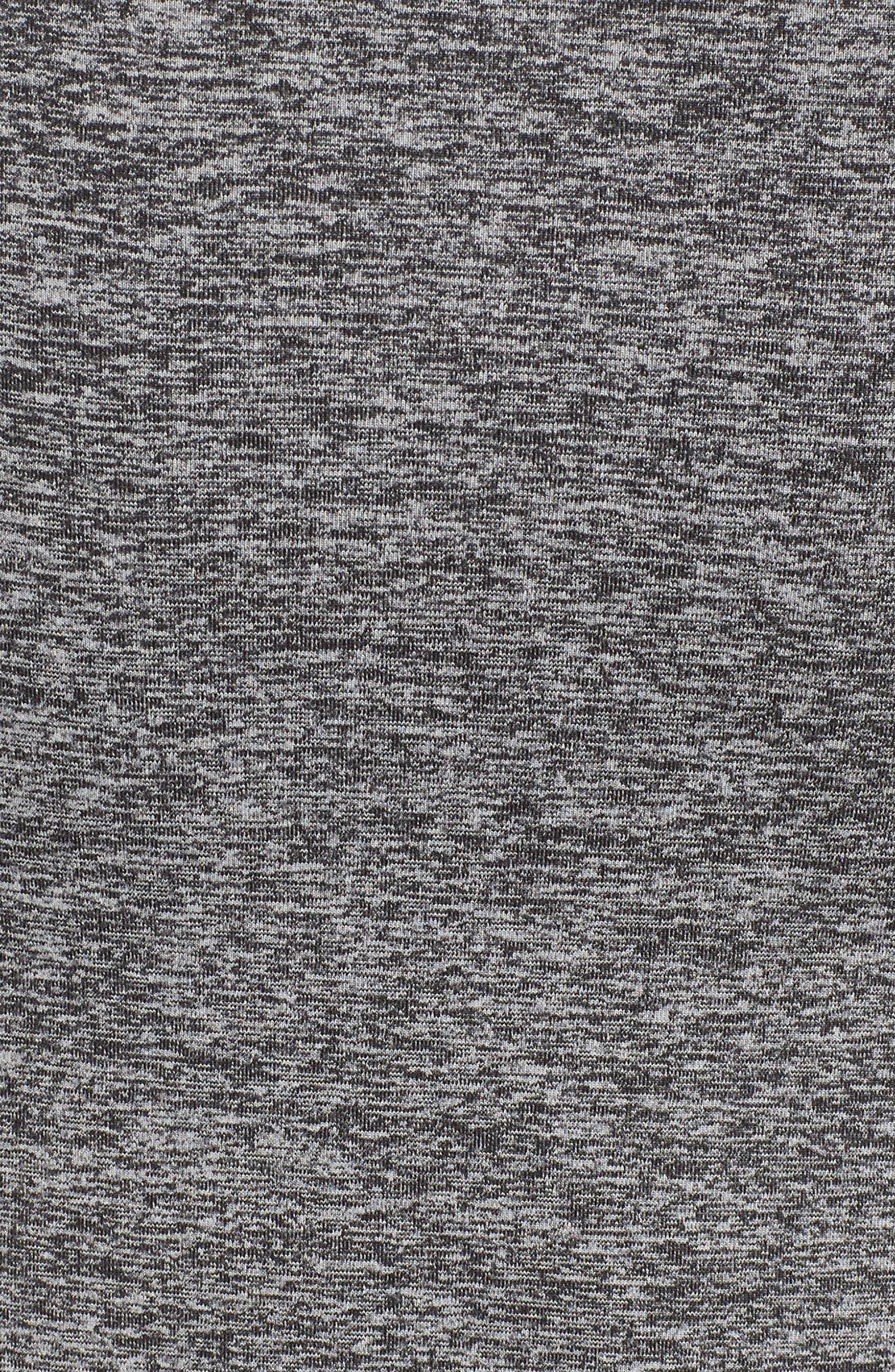 Quad Short Sleeve Hoodie,                             Alternate thumbnail 5, color,                             Heather Black/ Navy/ Black