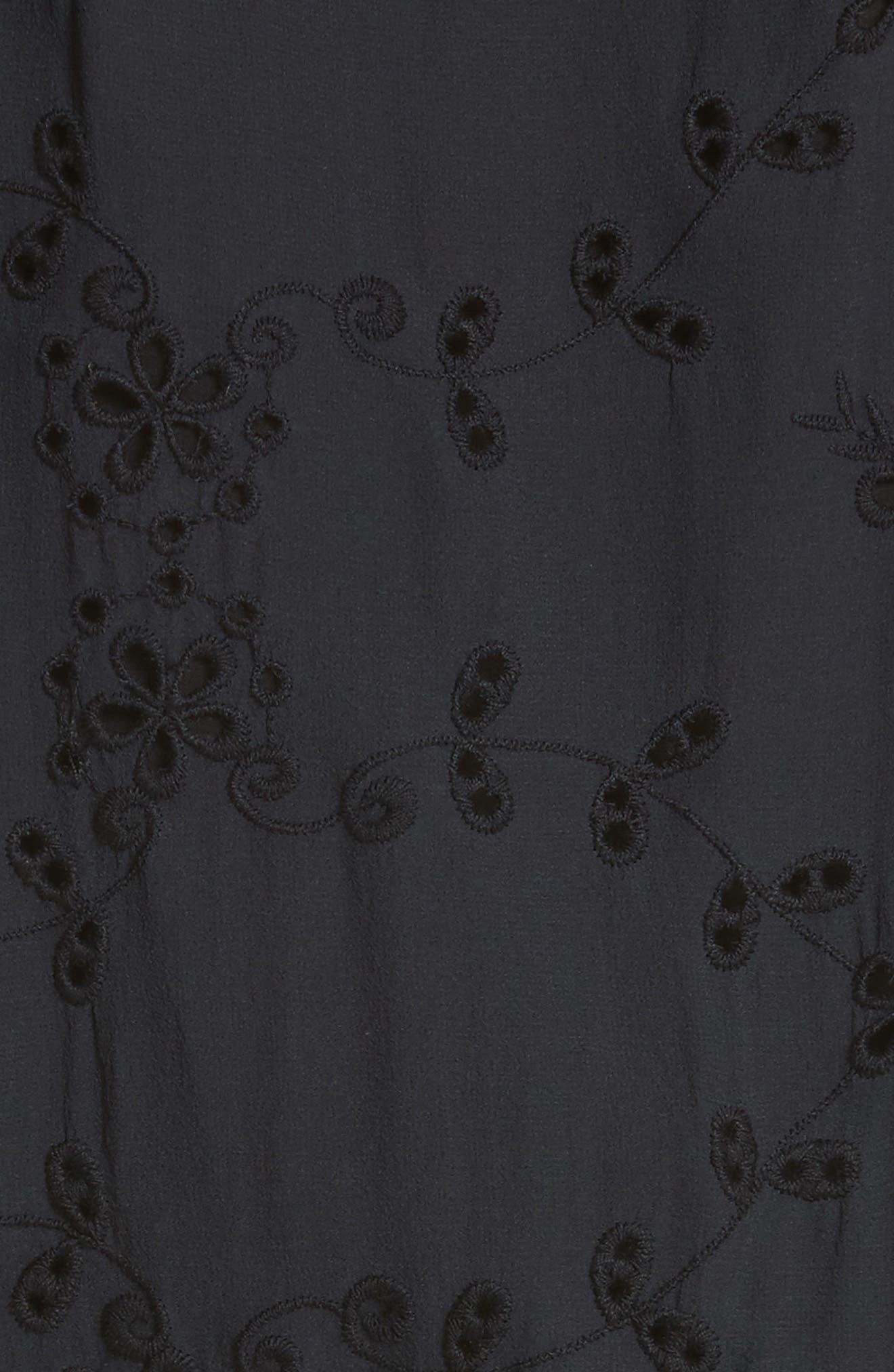 Alpheus Cold Shoulder Ruffled Silk Dress,                             Alternate thumbnail 5, color,                             Caviar/ Caviar