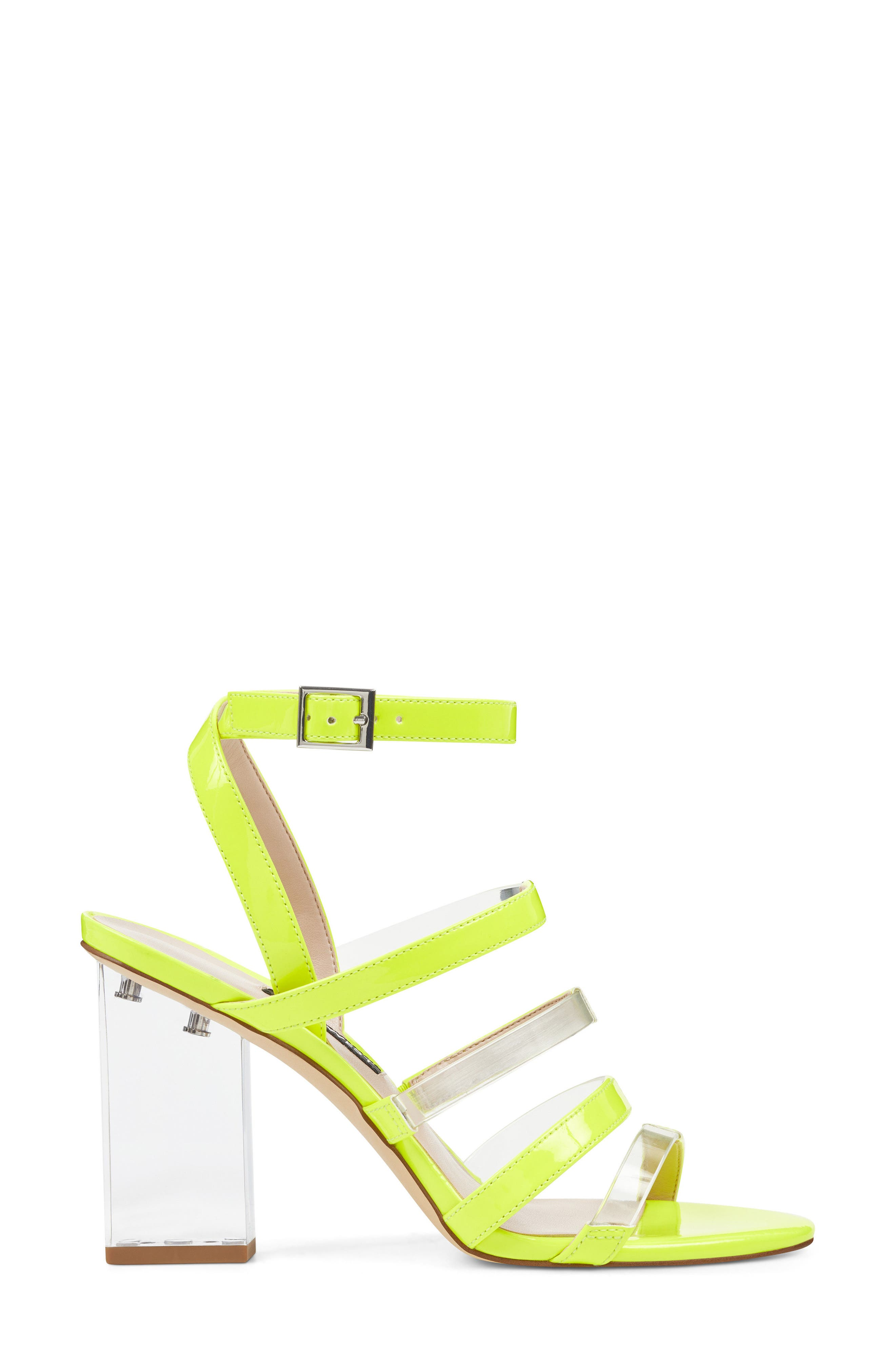 Fazzani Cage Sandal,                             Alternate thumbnail 3, color,                             Clear/ Yellow Faux Leather