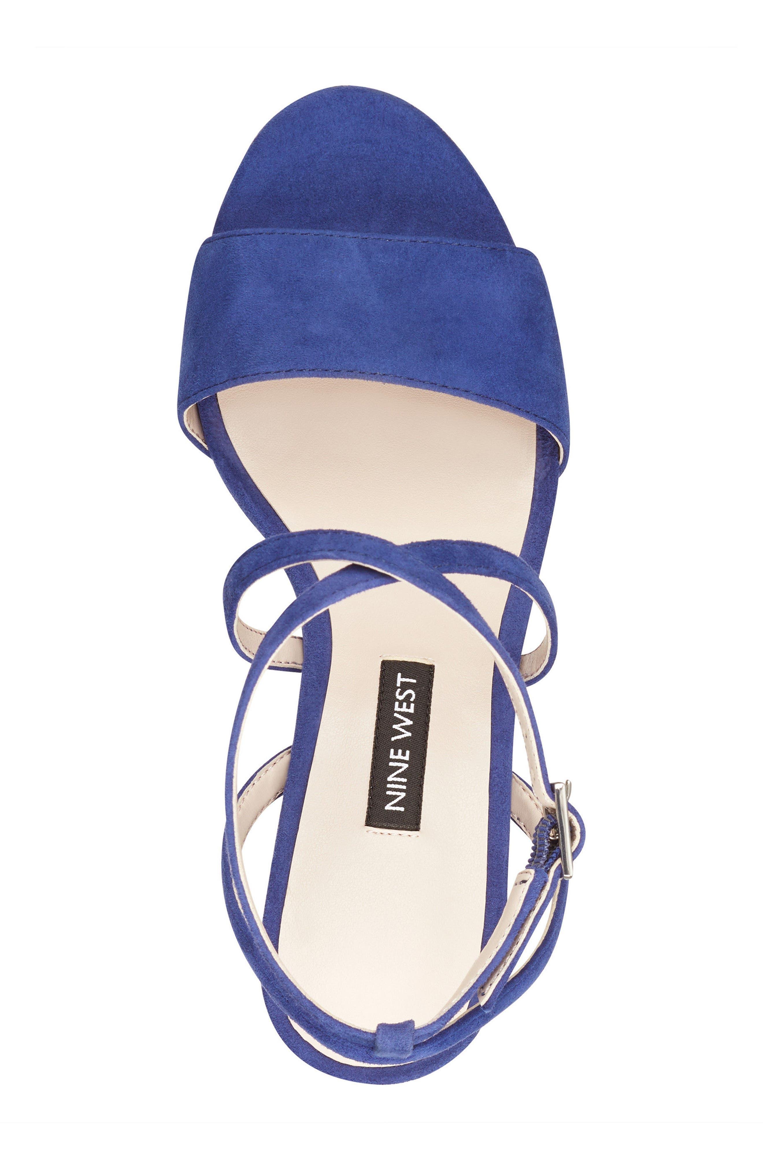 Markando Platform Sandal,                             Alternate thumbnail 5, color,                             Dark Blue Suede
