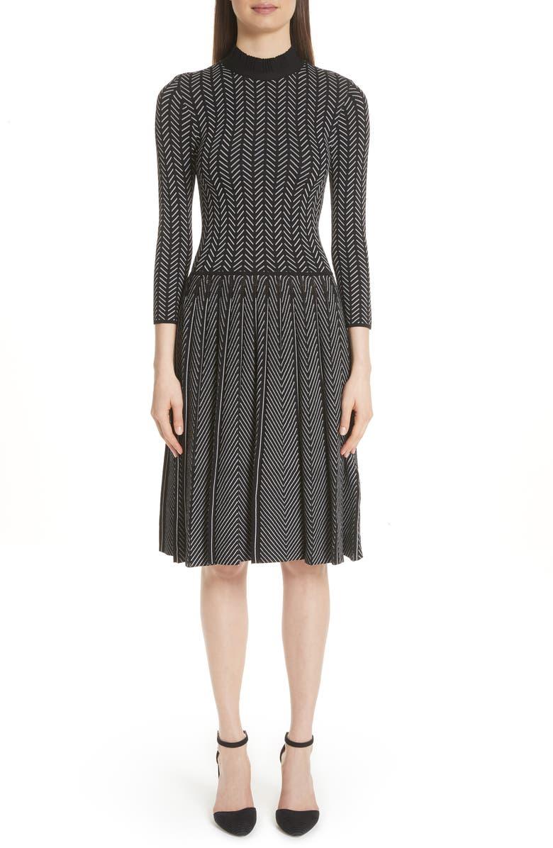Chevron Knit Fit  Flare Dress
