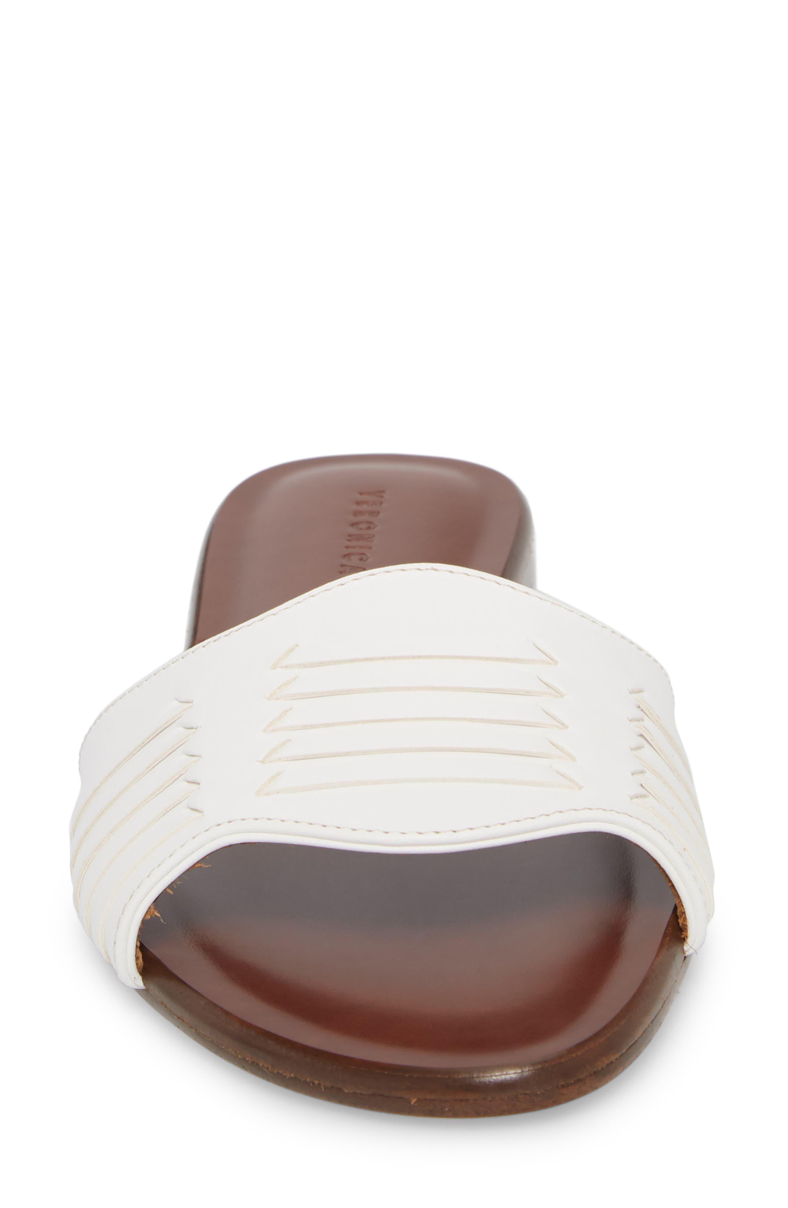 Faven Woven Slide Sandal,                             Alternate thumbnail 4, color,                             White