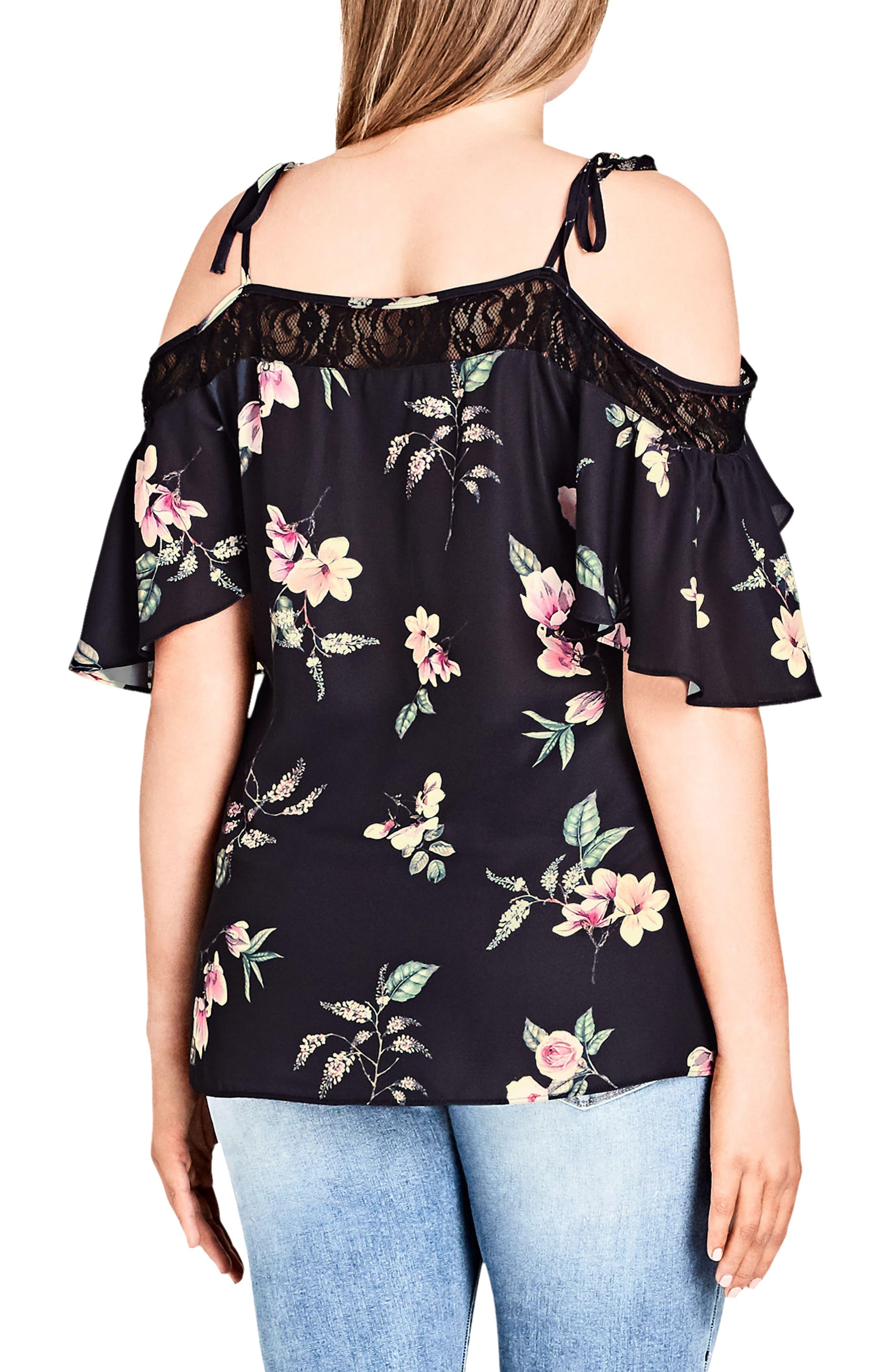 Lace Trim Floral Off the Shoulder Top,                             Alternate thumbnail 2, color,                             Captive Floral
