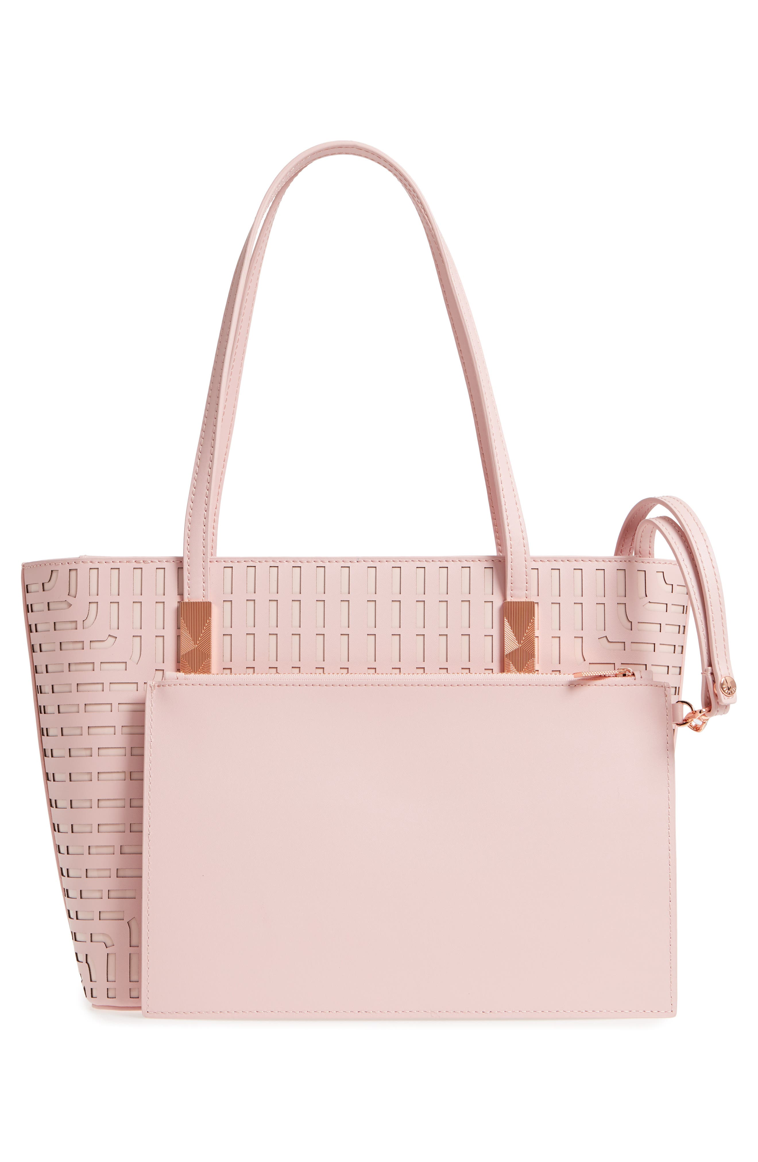Breanna Perforated Bow Leather Shopper,                             Alternate thumbnail 3, color,                             Light Pink