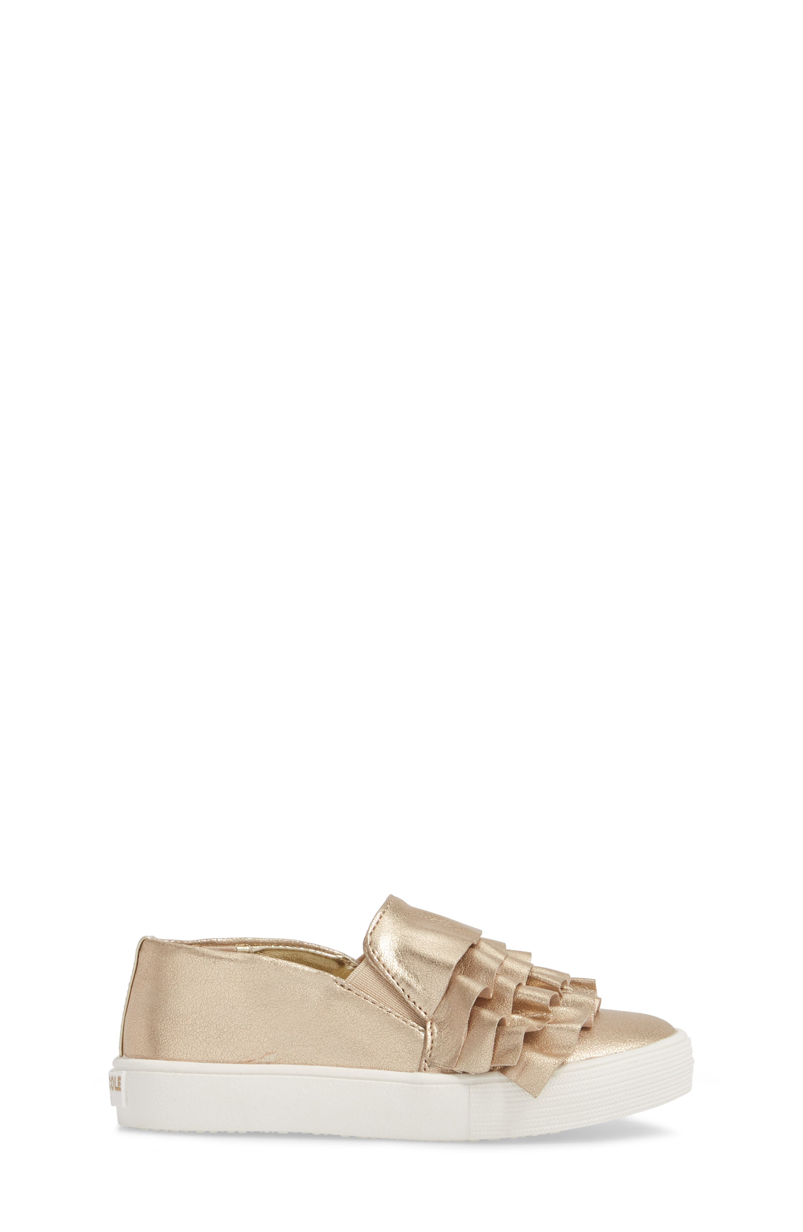Shimmery Kam Ruffle Slip-On Sneaker,                             Alternate thumbnail 3, color,                             Gold