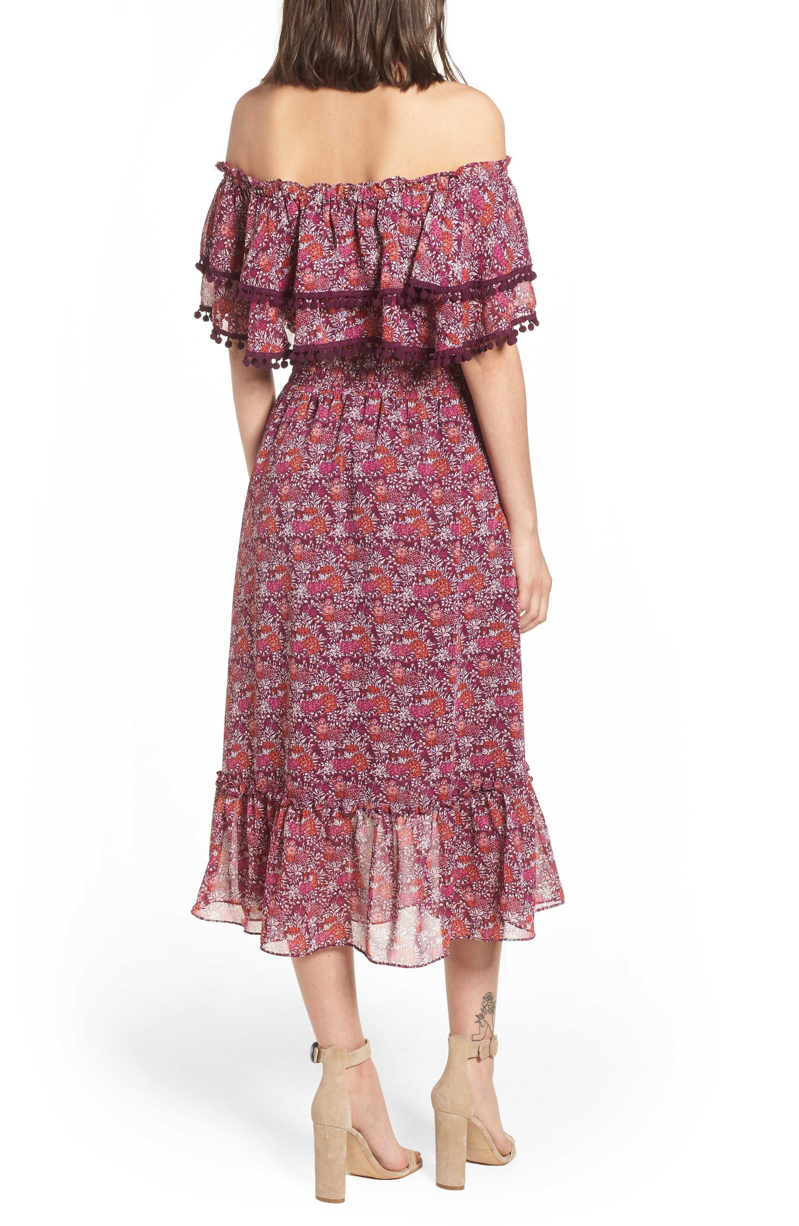 Maribel Off the Shoulder Midi Dress,                             Alternate thumbnail 2, color,                             Multi Fe4