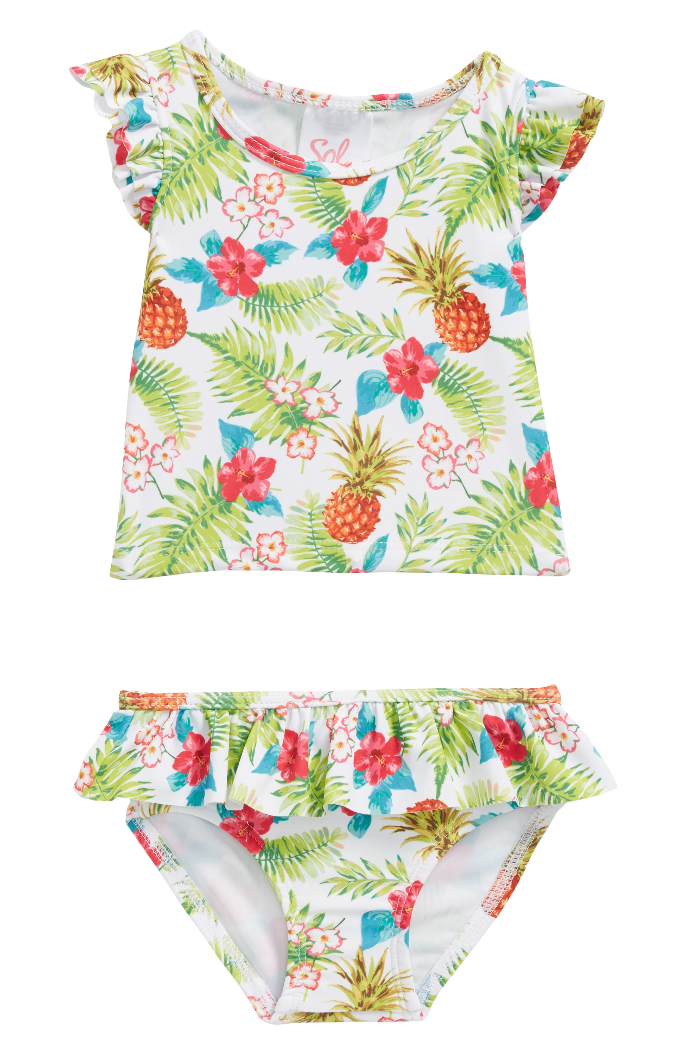 Tropical Holiday Two-Piece Swimsuit,                             Main thumbnail 1, color,                             Green Multi