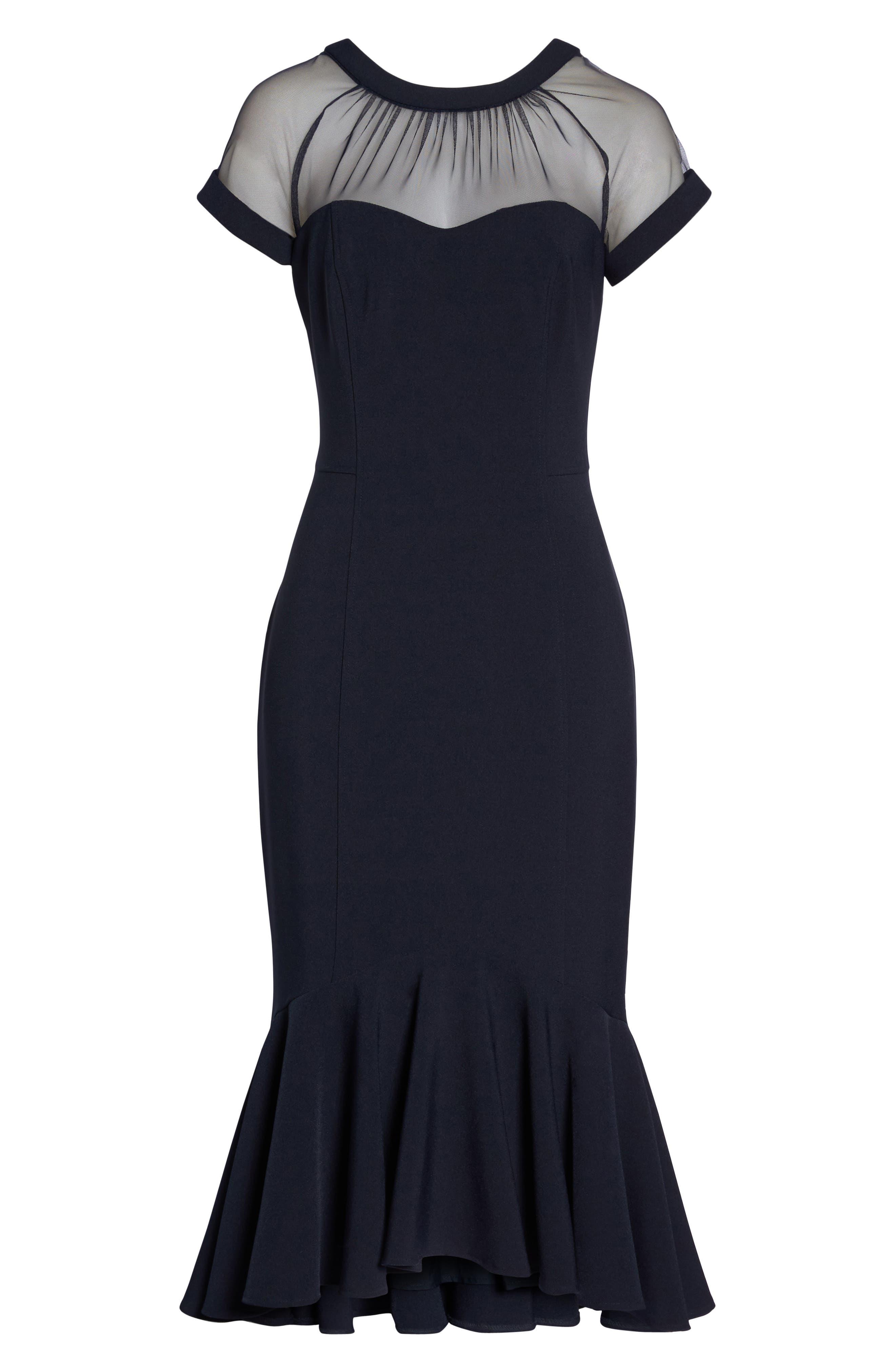 Illusion Neck Crepe Trumpet Dress,                             Alternate thumbnail 7, color,                             Dark Navy