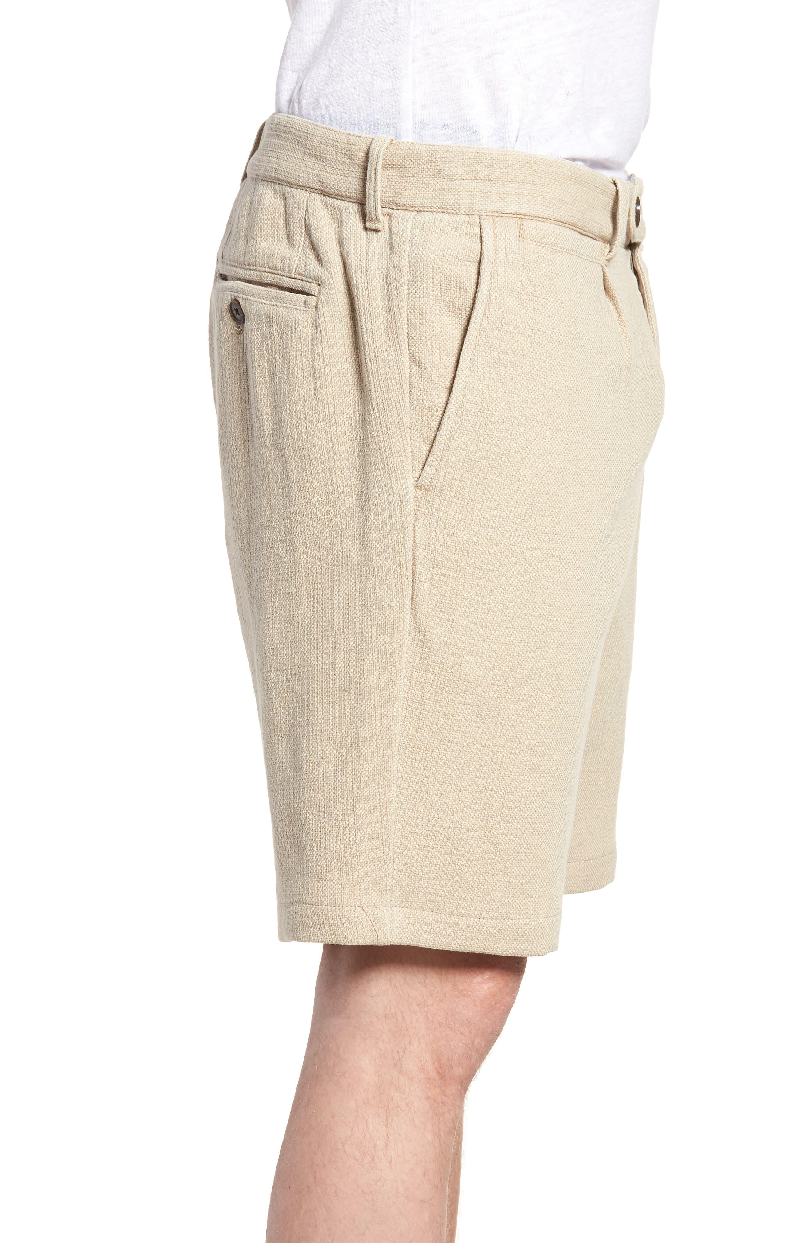 Thomas Regular Fit Pleated Shorts,                             Alternate thumbnail 3, color,                             Tan