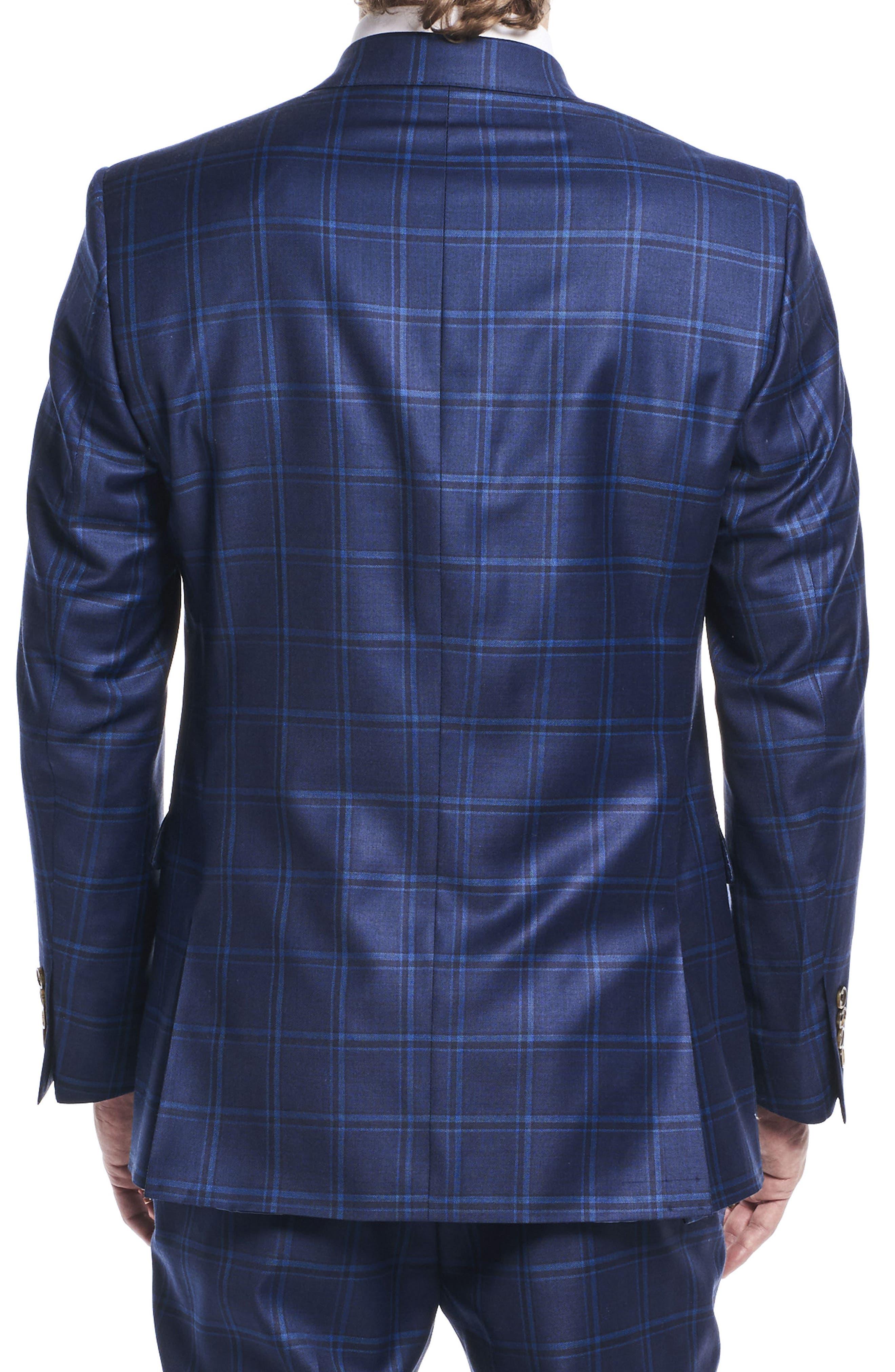by Ilaria Urbinati Kilgore Slim Fit Plaid Wool Suit,                             Alternate thumbnail 4, color,                             Marine Windowpane
