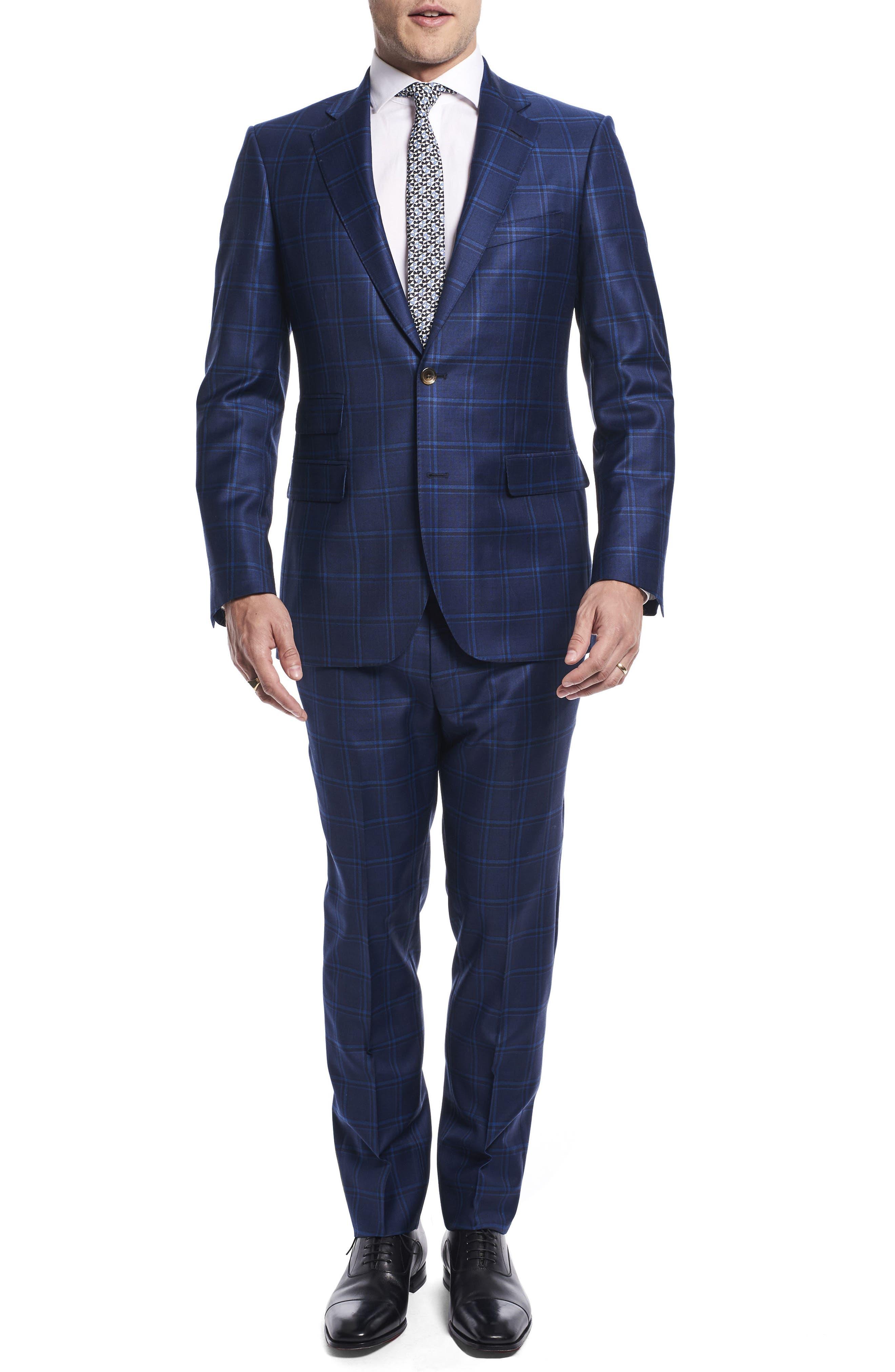 by Ilaria Urbinati Kilgore Slim Fit Plaid Wool Suit,                             Main thumbnail 1, color,                             Marine Windowpane