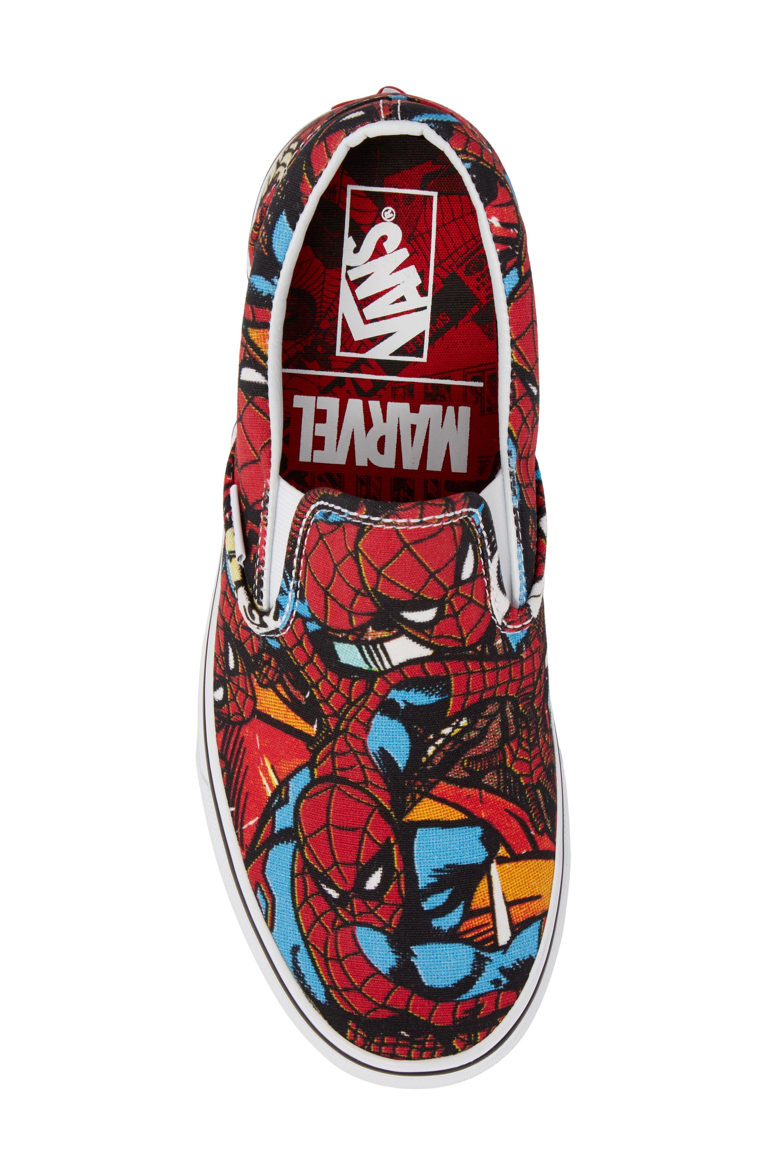 Marvel UA Classic Slip-On Sneaker,                             Alternate thumbnail 5, color,                             Black/ Red Textile