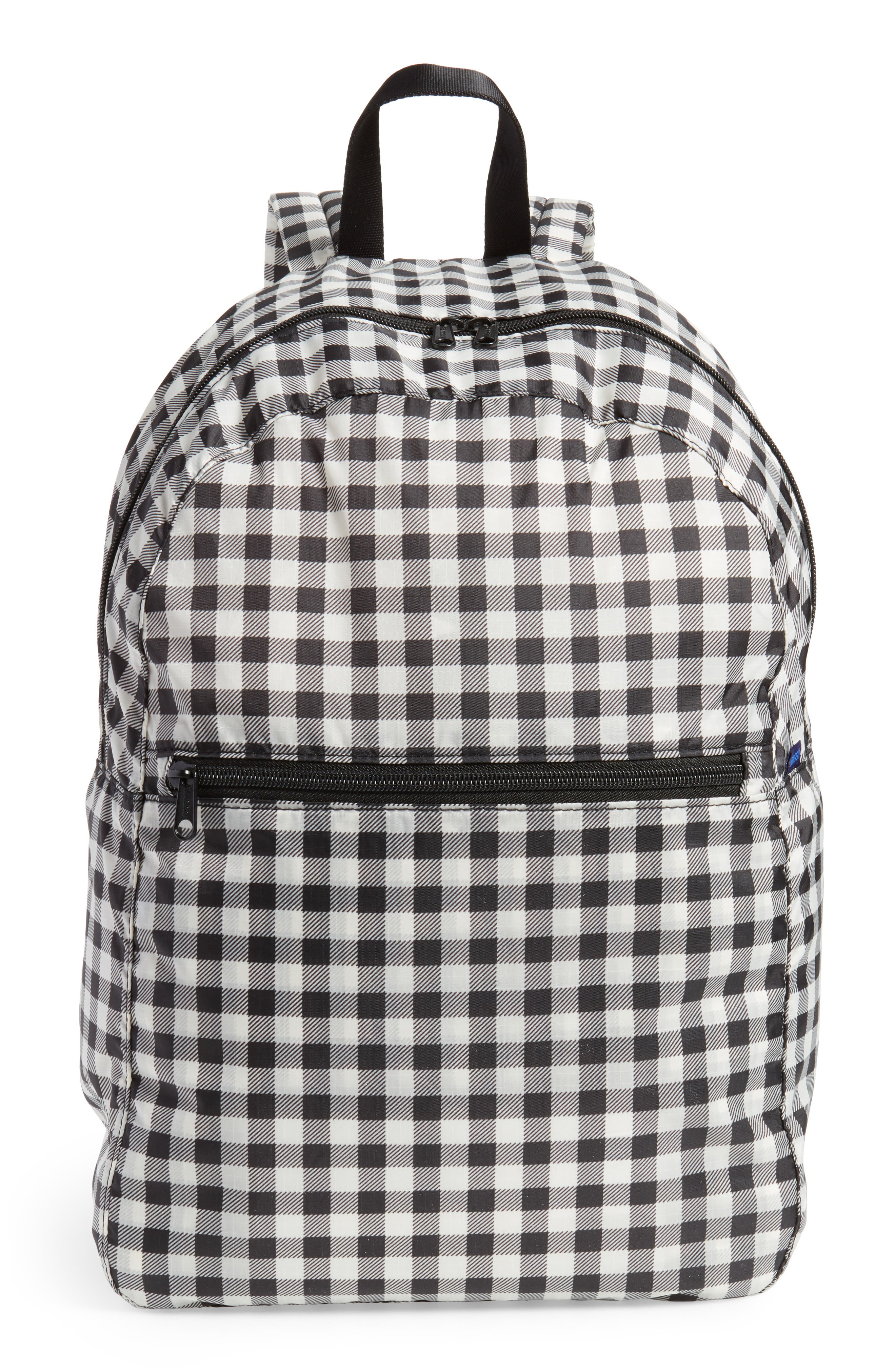 Ripstop Nylon Backpack,                             Main thumbnail 1, color,                             Black Gingham