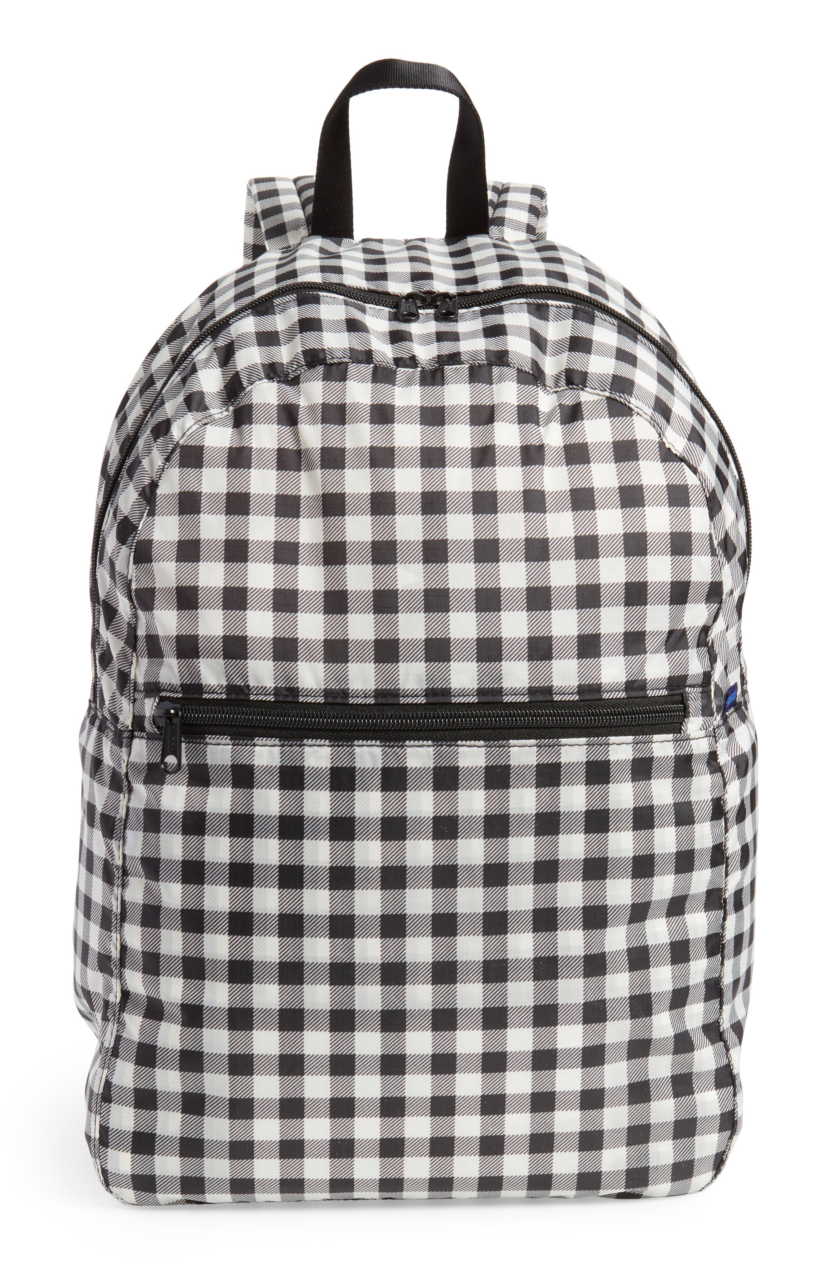 Ripstop Nylon Backpack,                         Main,                         color, Black Gingham