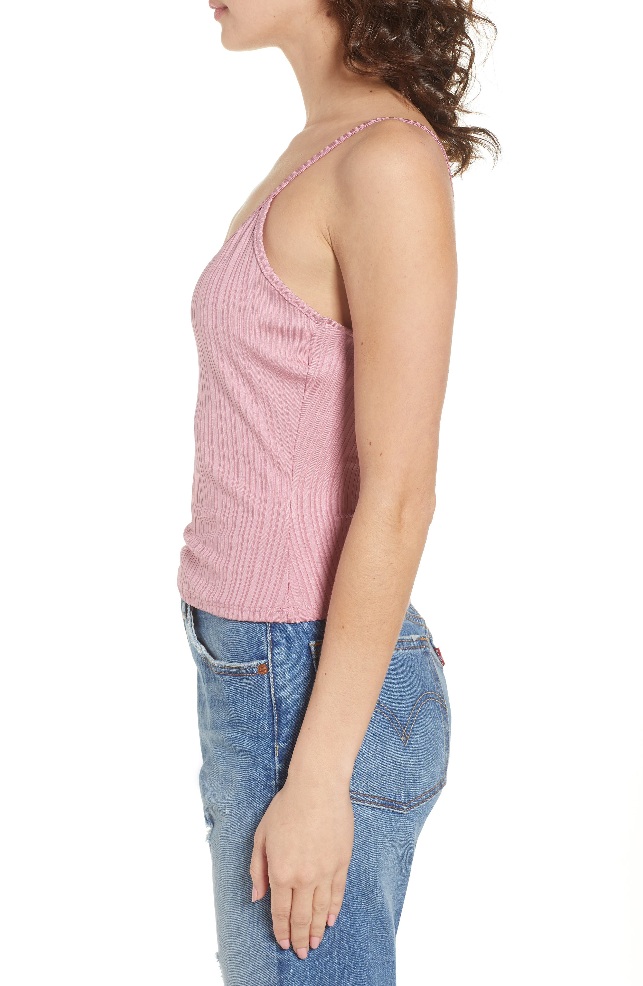 Rib Surplice Camisole,                             Alternate thumbnail 3, color,                             Pink