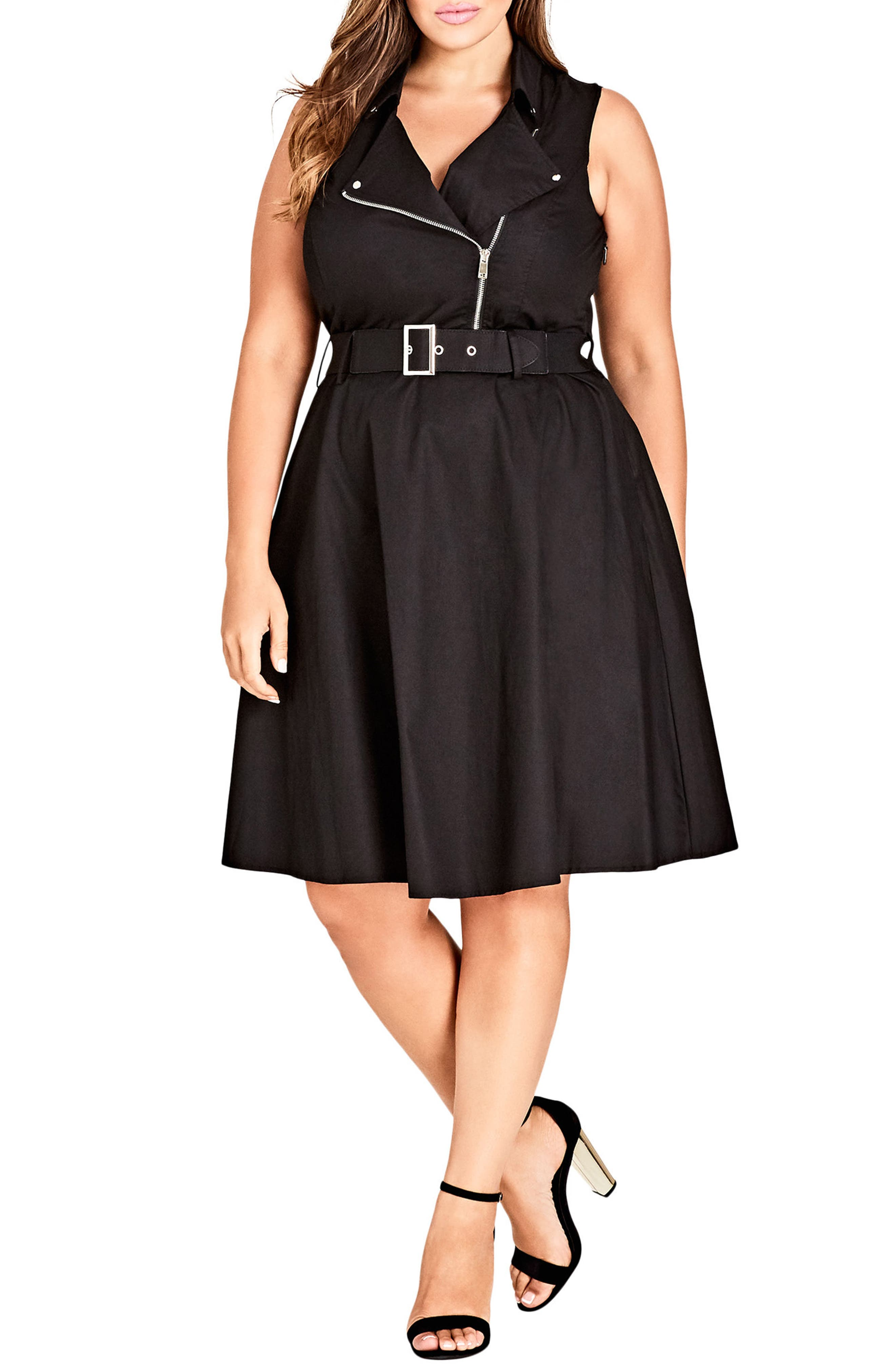 Biker Trim Moto Dress,                         Main,                         color, Black