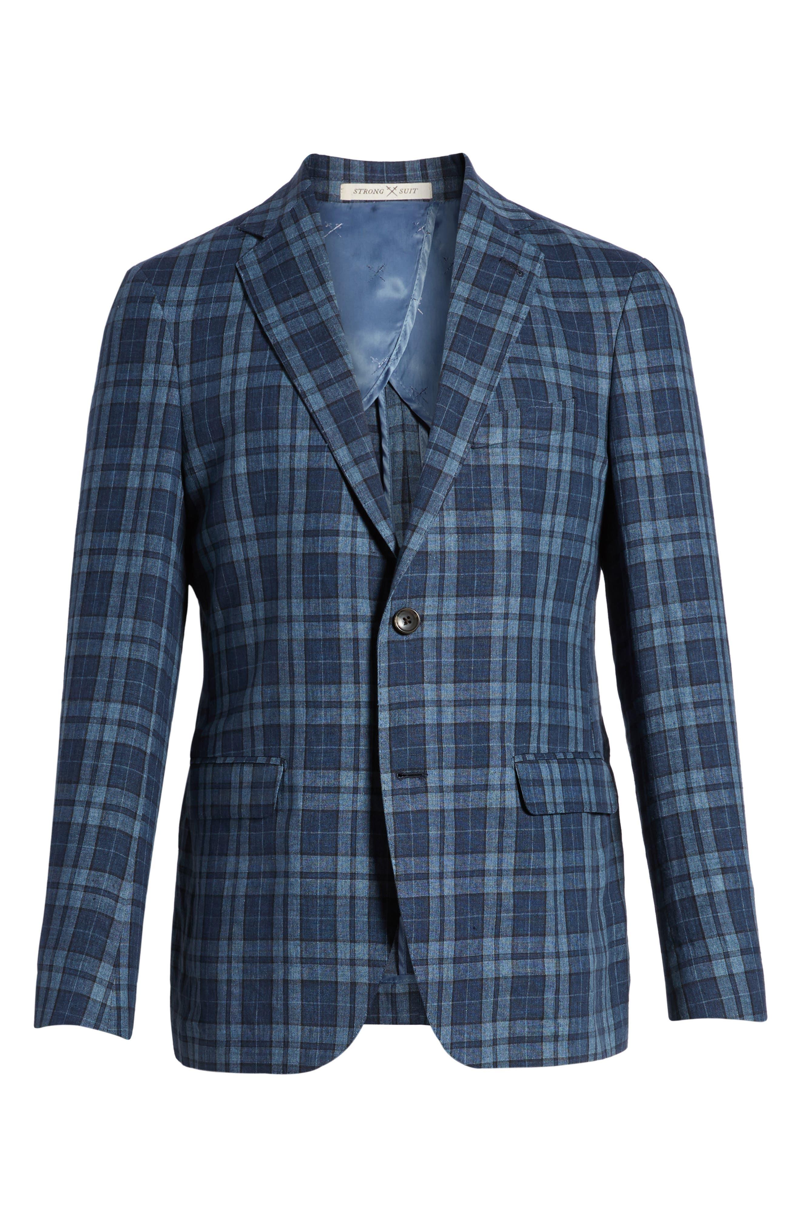 Vanquish Trim Fit Plaid Linen Sport Coat,                             Alternate thumbnail 6, color,                             Blue