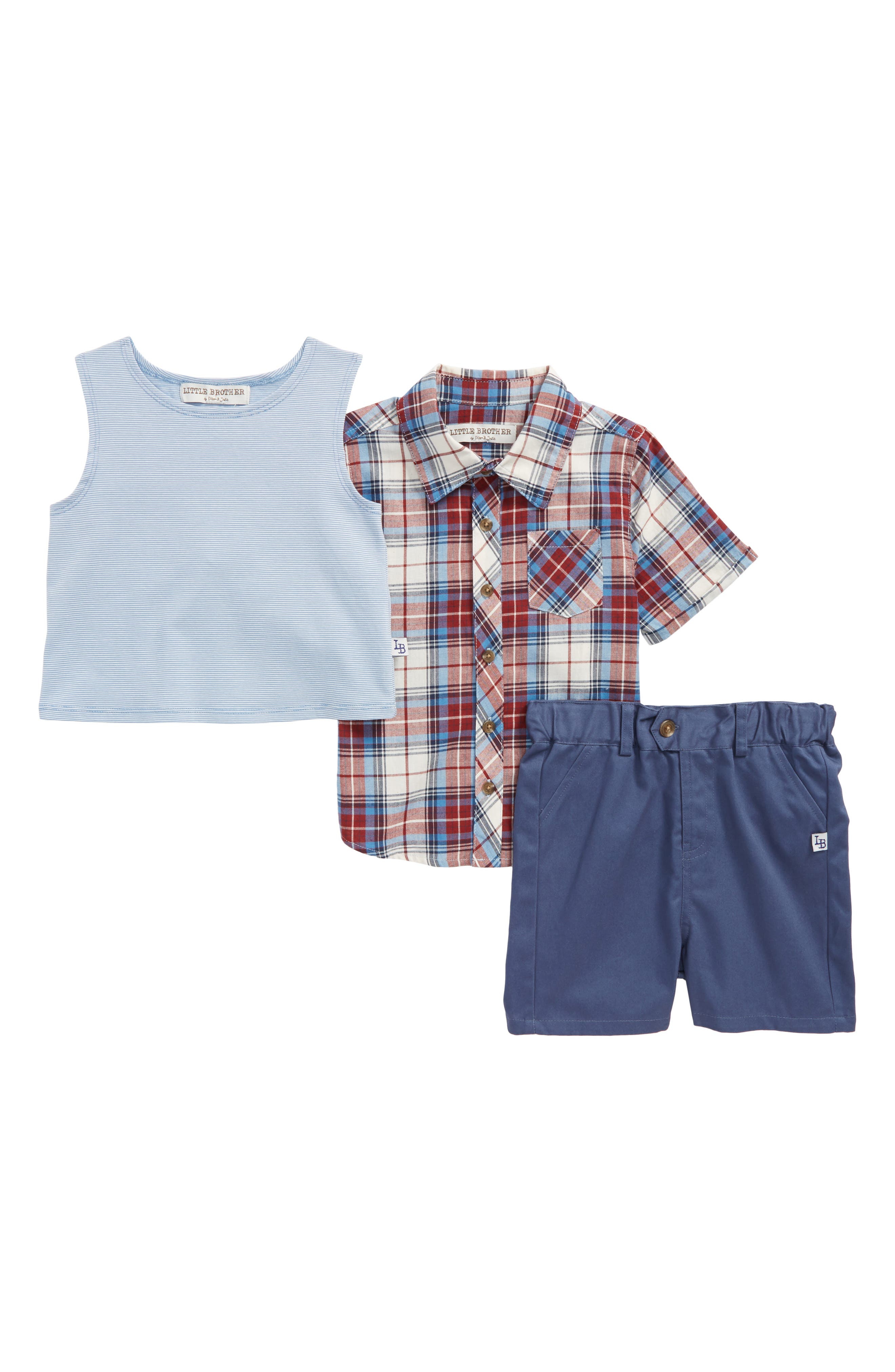 Little Brother by Pippa & Julie Plaid Shirt, Tank Top & Shorts Set (Toddler Boys)