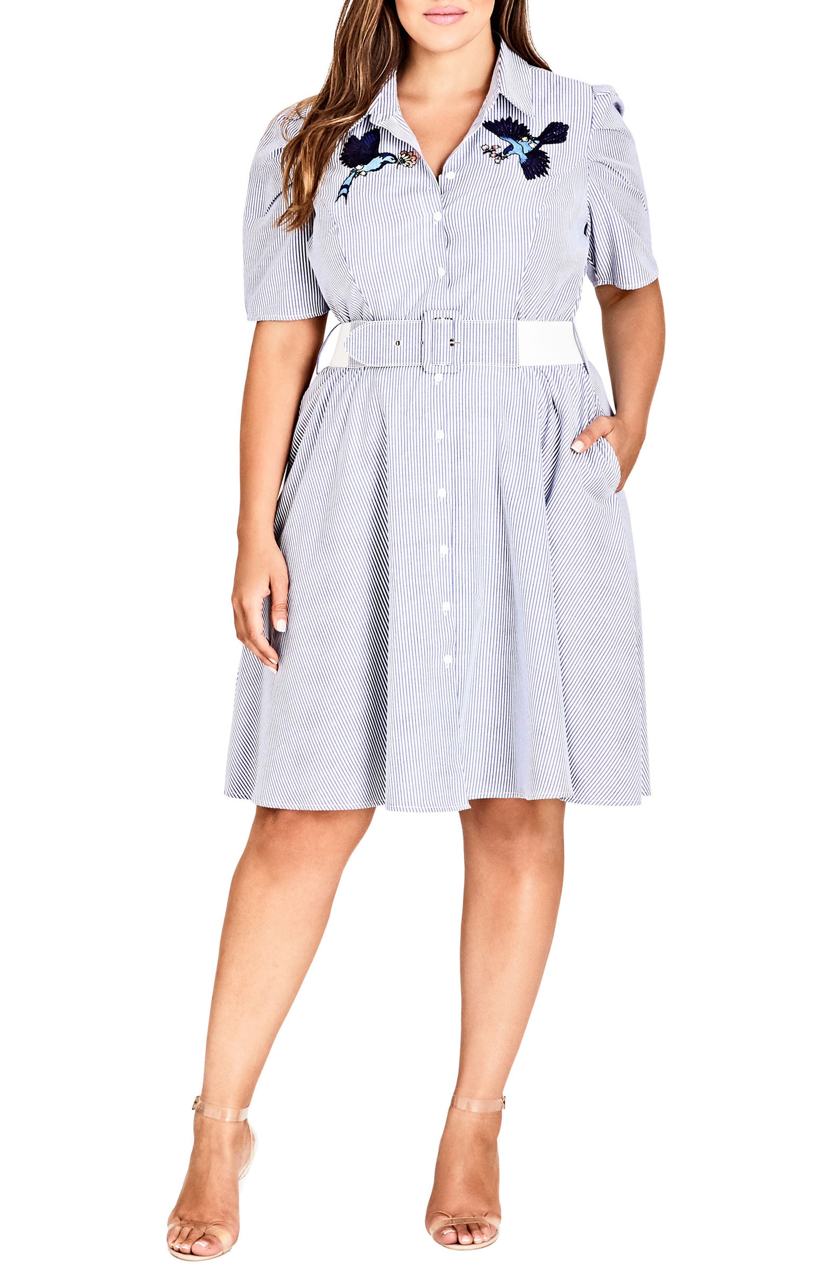 City Chic Stripe Essence Shirtdress (Plus Size)