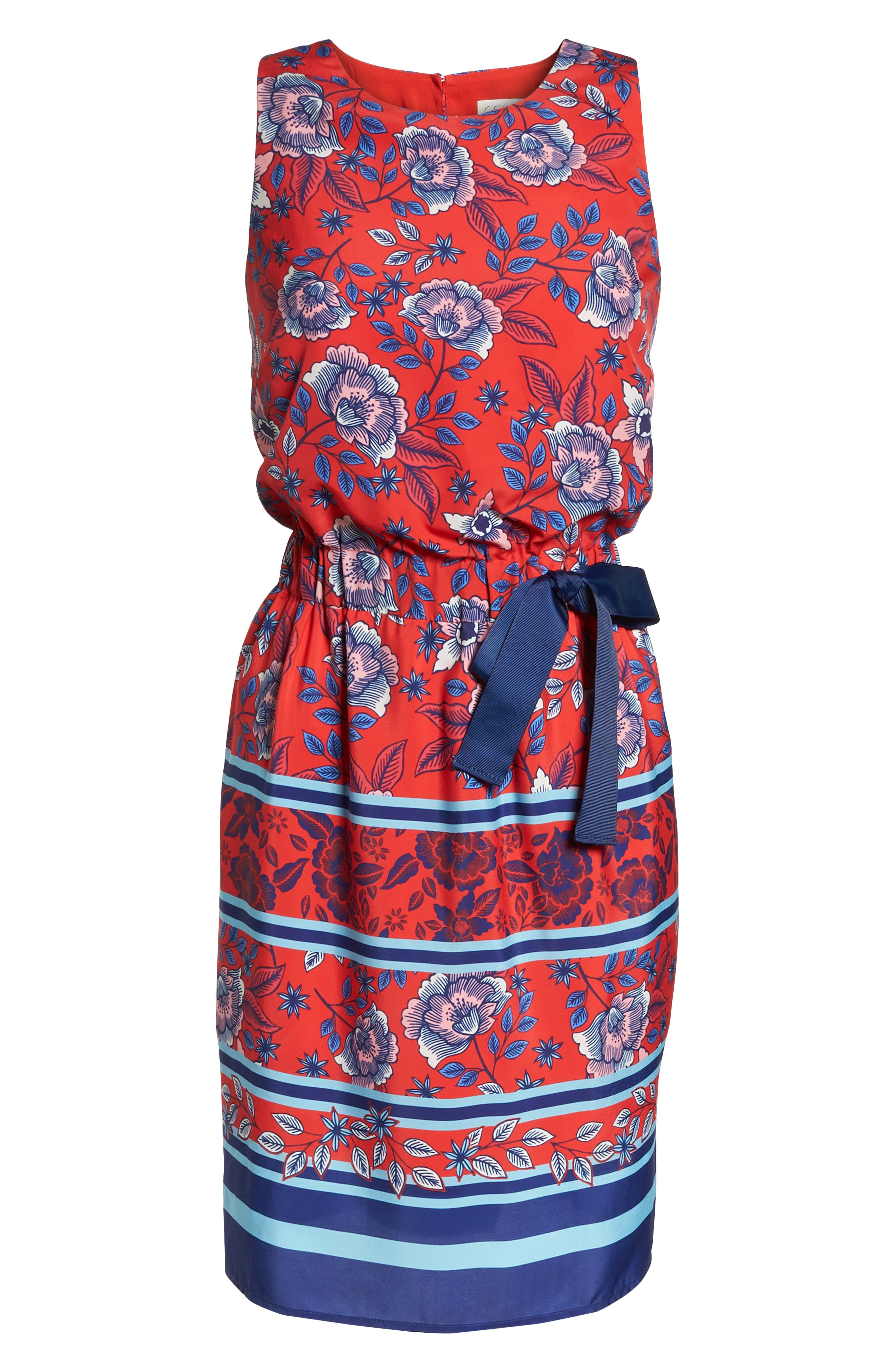 Built-In Tie Fit & Flare Dress,                             Alternate thumbnail 7, color,                             Red