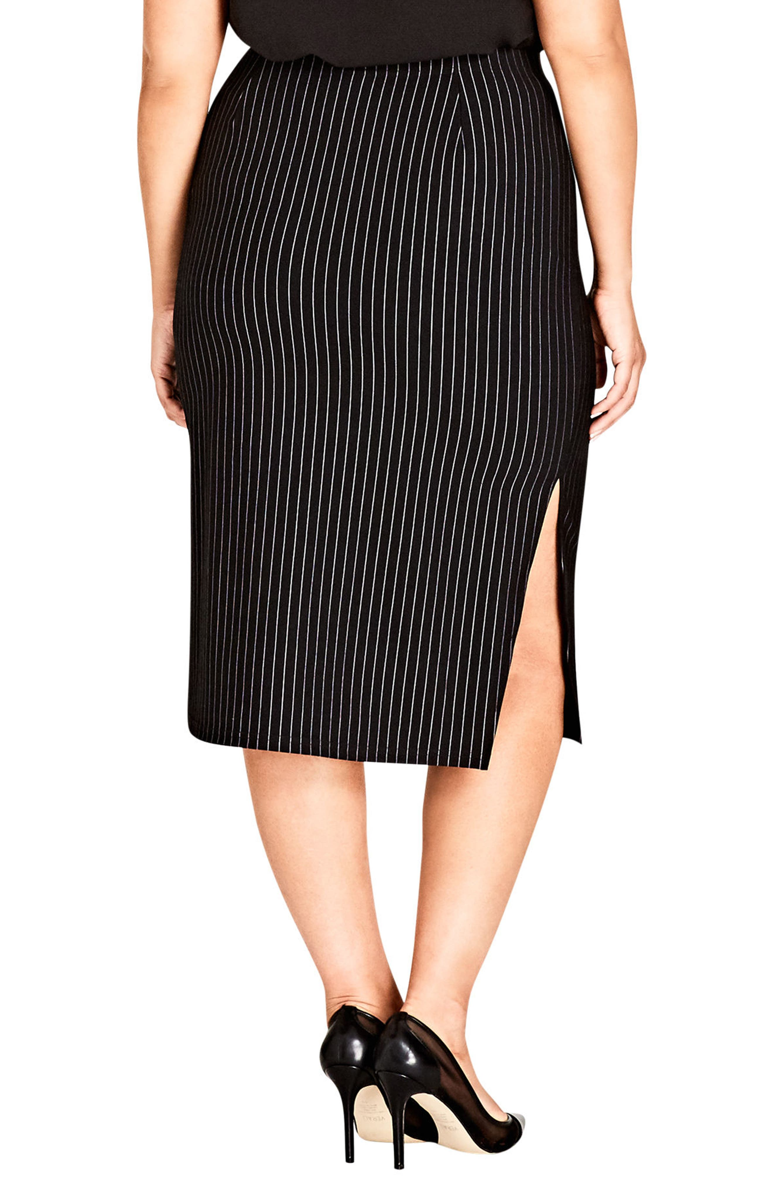 Chic City On Point Pencil skirt,                             Alternate thumbnail 2, color,                             Pin Stripe