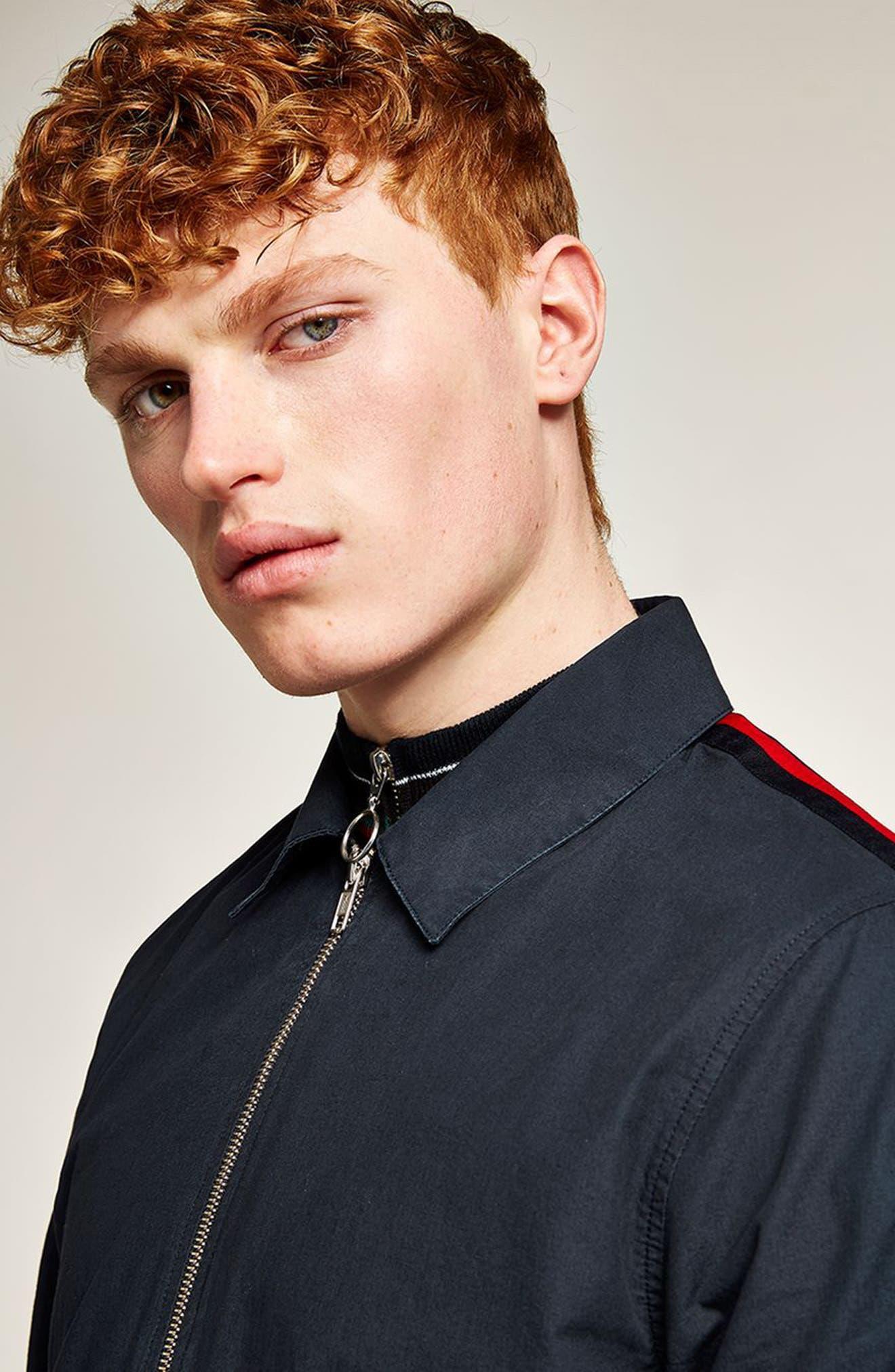 Stripe Sleeve Shirt Jacket,                             Alternate thumbnail 3, color,                             Navy Blue