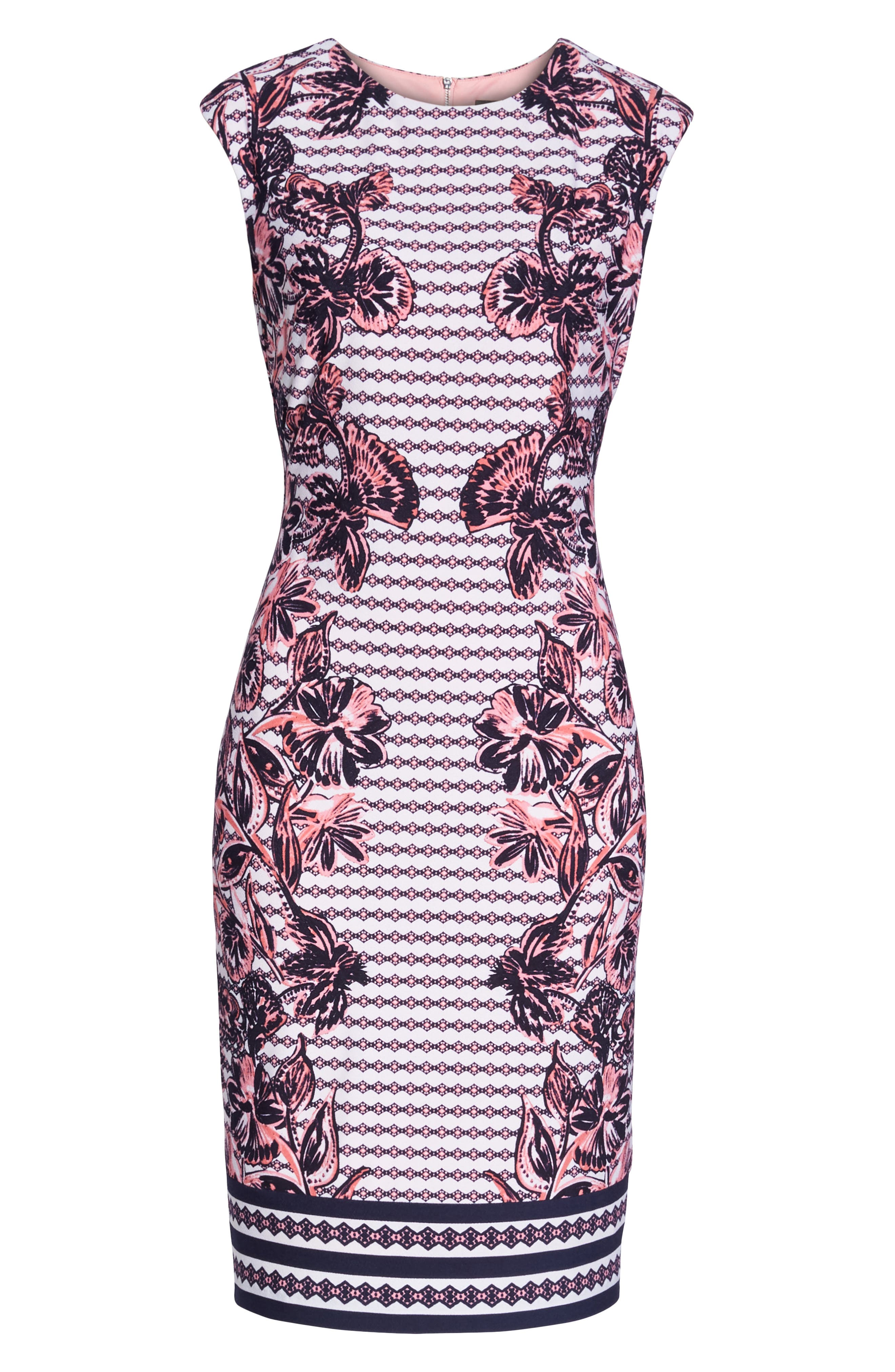 Print Scuba Crepe Sheath Dress,                             Alternate thumbnail 7, color,                             Navy/ Pink