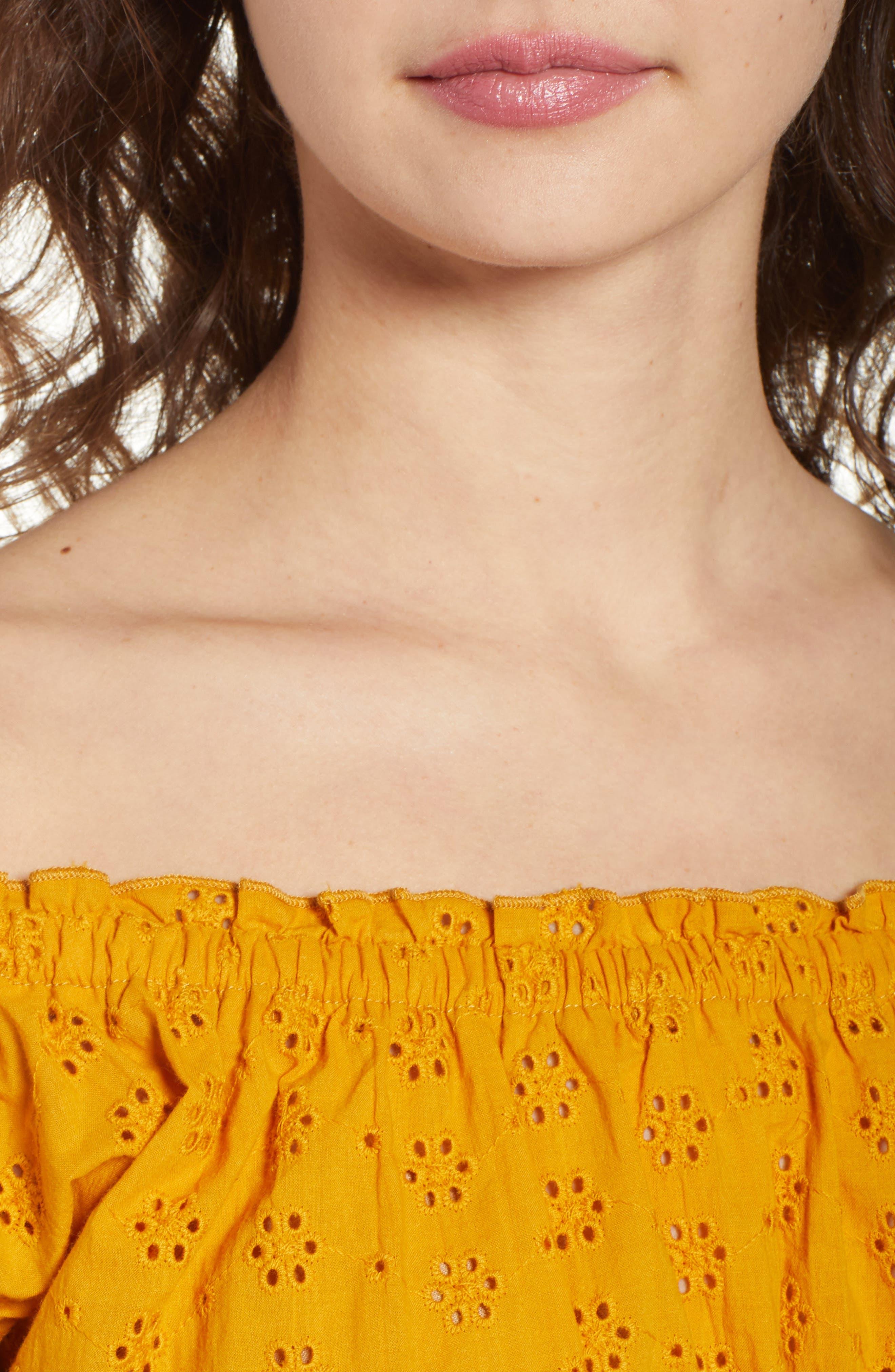 Off the Shoulder Eyelet Top,                             Alternate thumbnail 4, color,                             Marigold